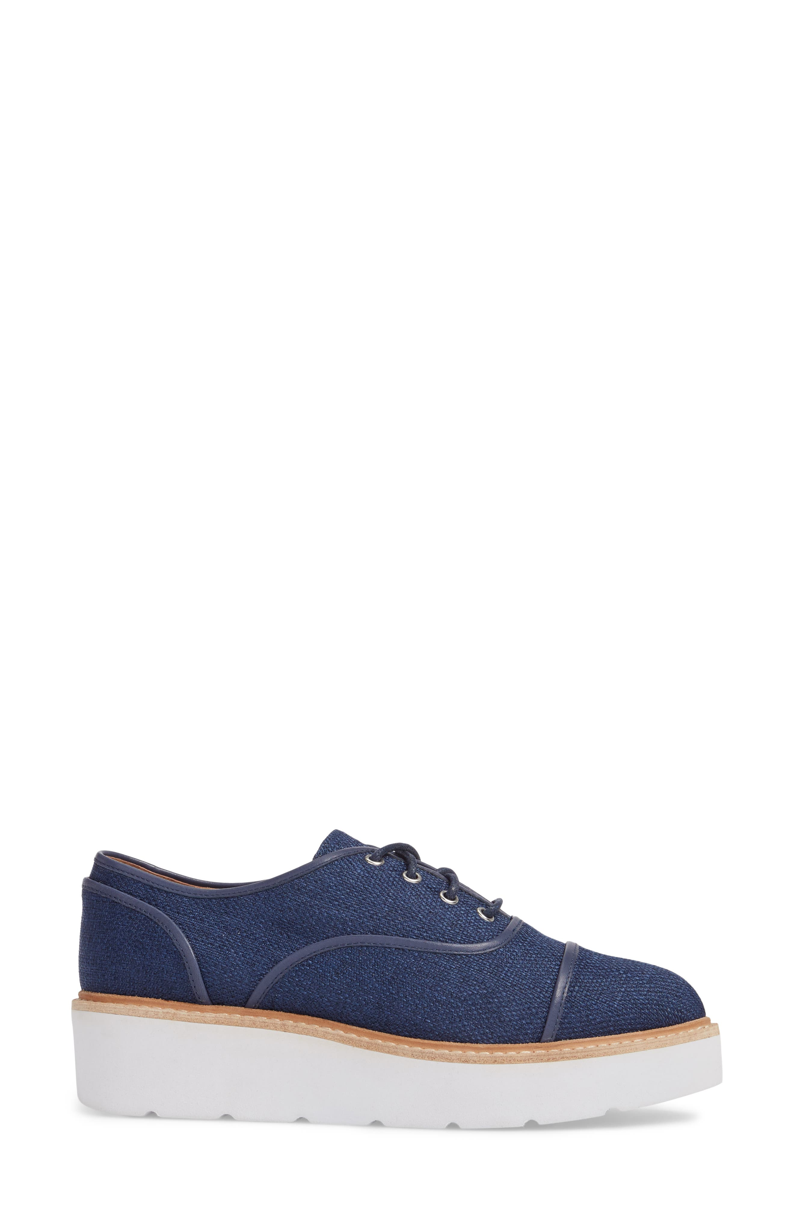 Mavis Cap Toe Platform Sneaker,                             Alternate thumbnail 3, color,                             Blue Fabric