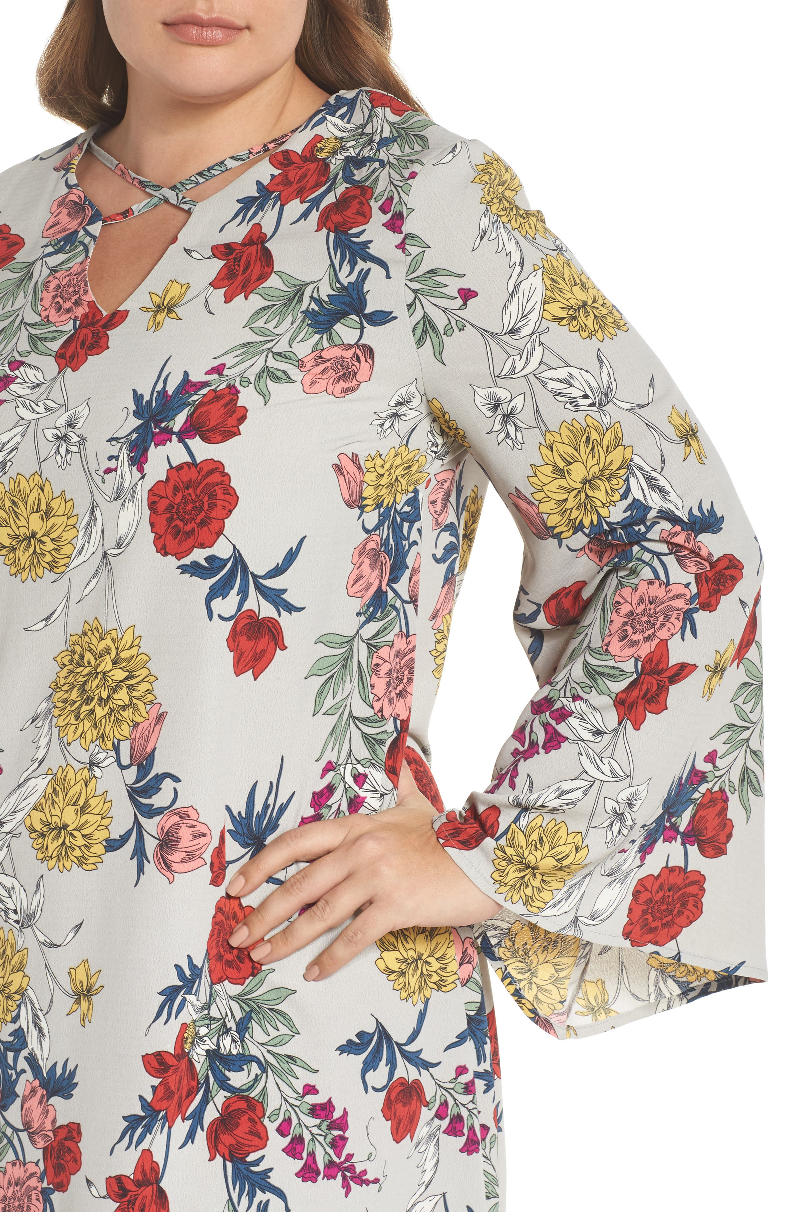 Print Bell Sleeve Shift Dress,                             Alternate thumbnail 4, color,                             Grey Multi Floral