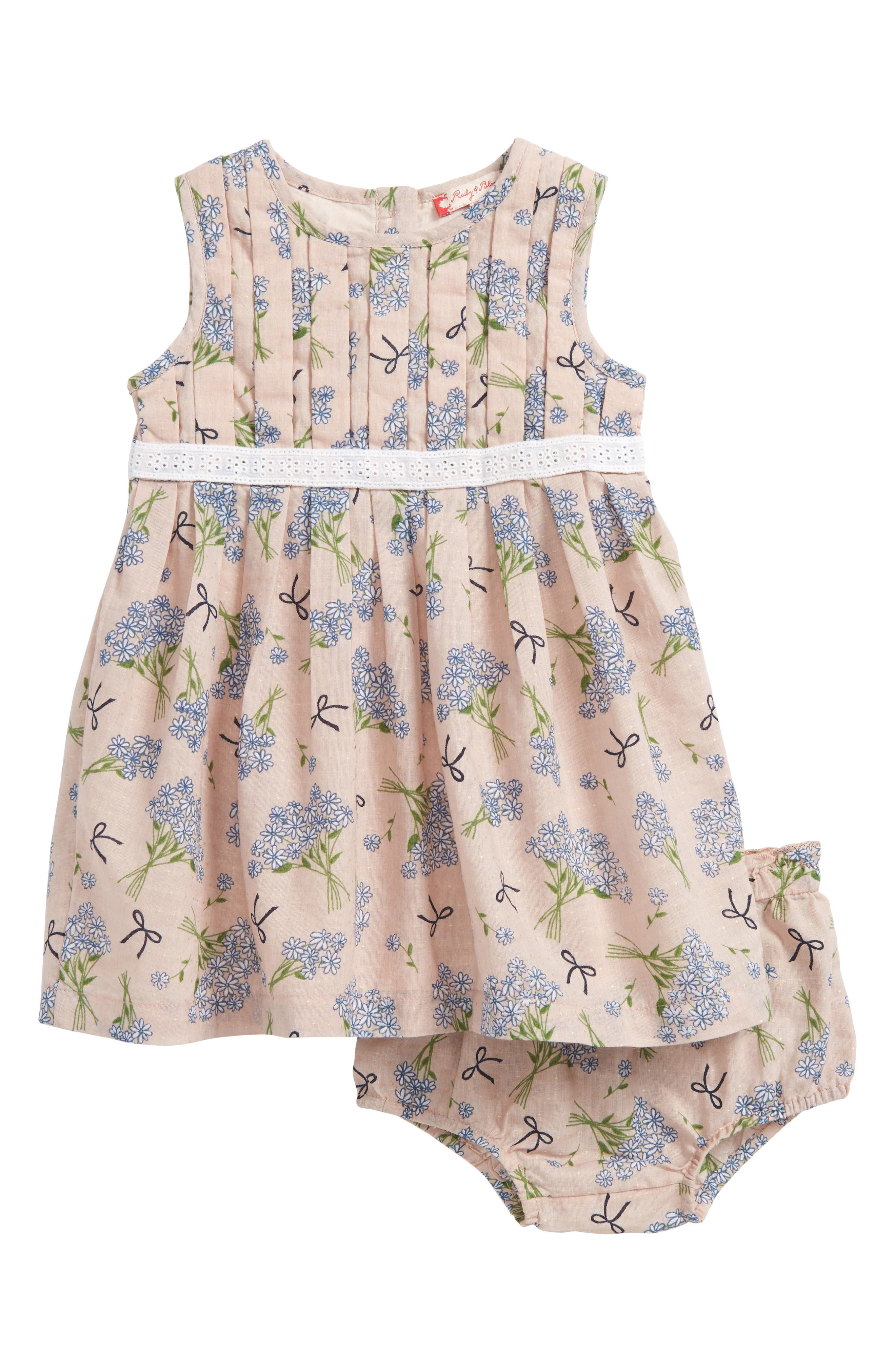 Ruby & Bloom Dobby Pleat Front Dress (Baby Girls)