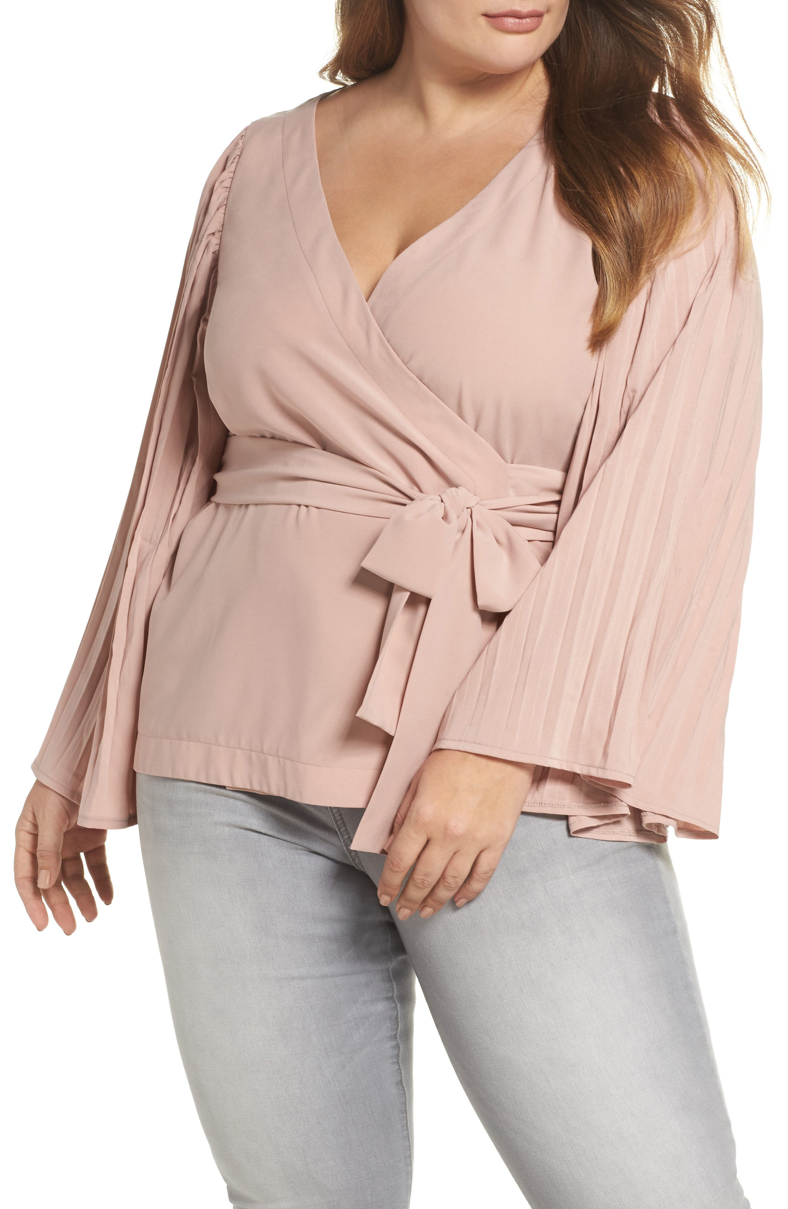 The Luster Pleat Sleeve Wrap Top,                         Main,                         color, Pink