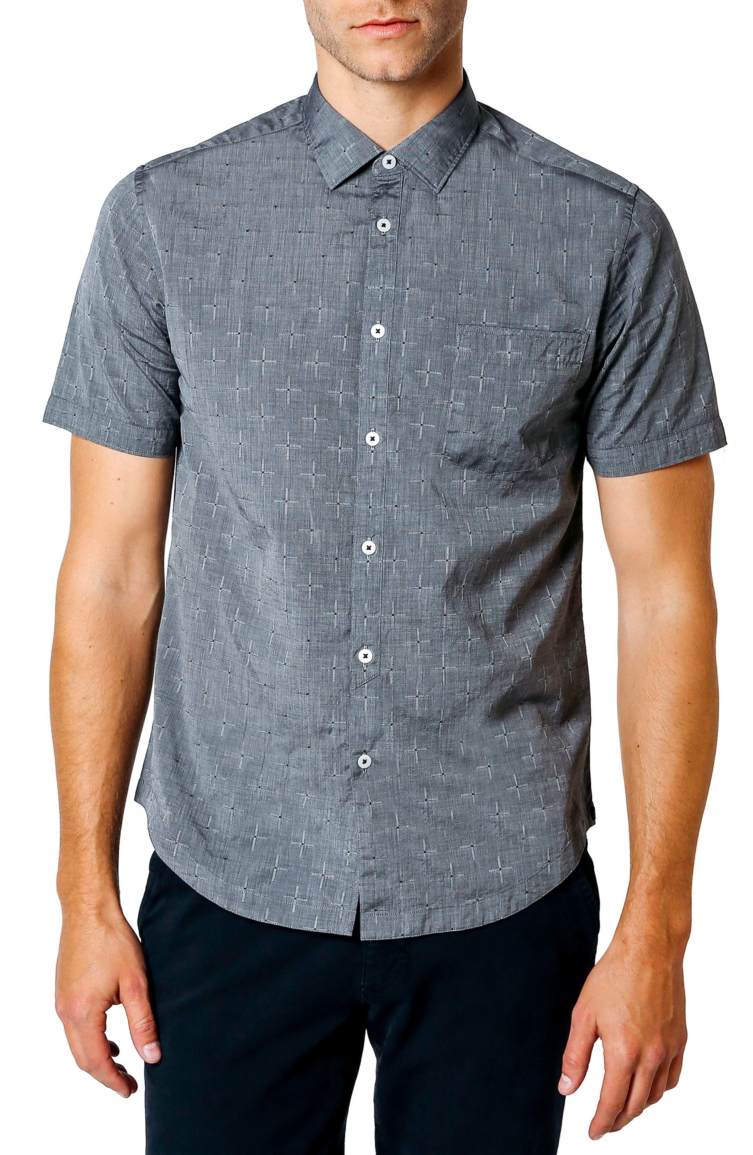 Trim Fit Geometric Short Sleeve Sport Shirt,                             Main thumbnail 1, color,                             Black