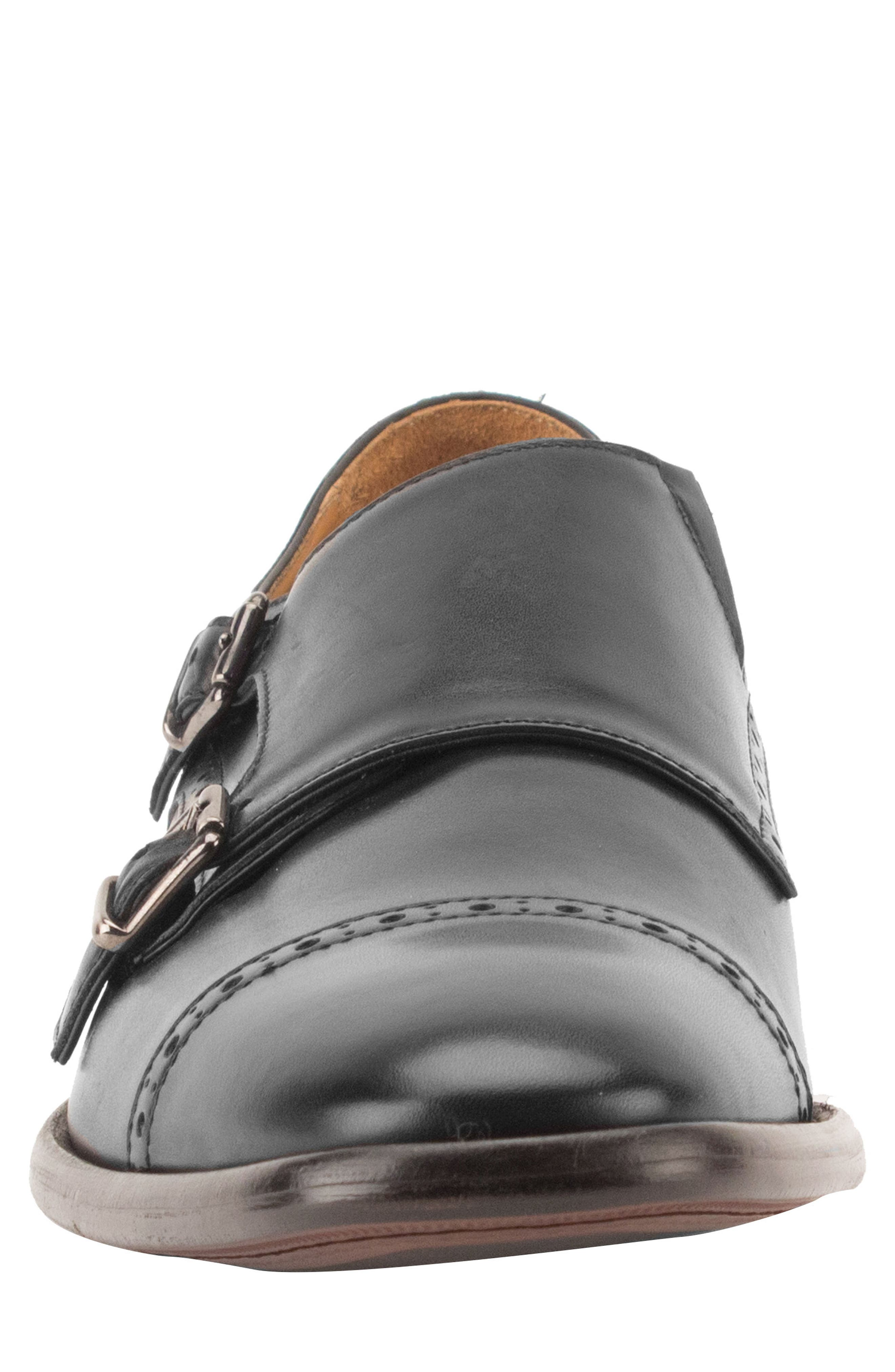 Corbett Cap Toe Double Strap Monk Shoe,                             Alternate thumbnail 4, color,                             Black Leather