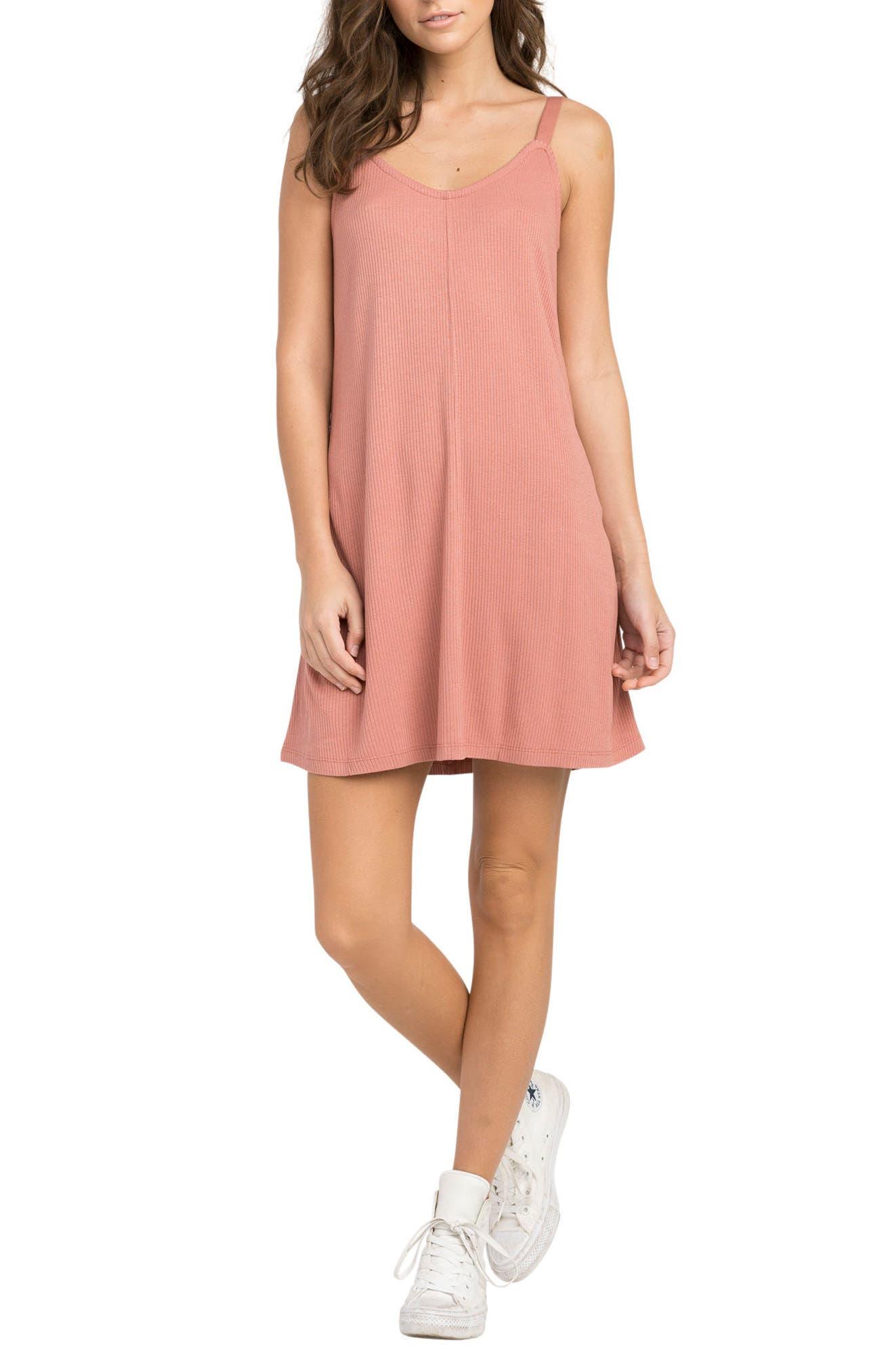 Switchback Rib Knit Dress,                         Main,                         color, Mahogany