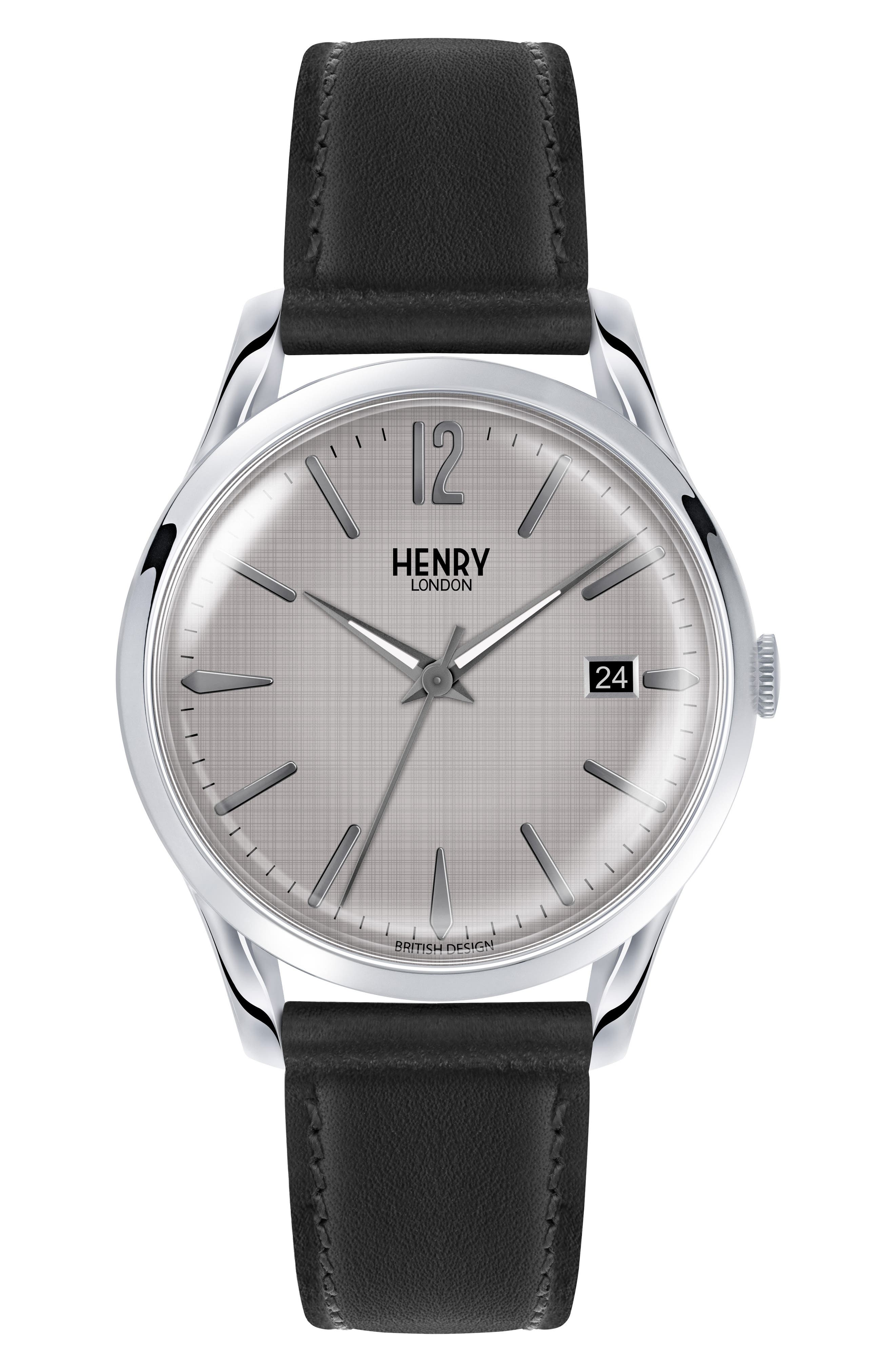 HENRY LONDON Piccadilly Leather Strap Watch, 39Mm in Black/ Grey/ Silver