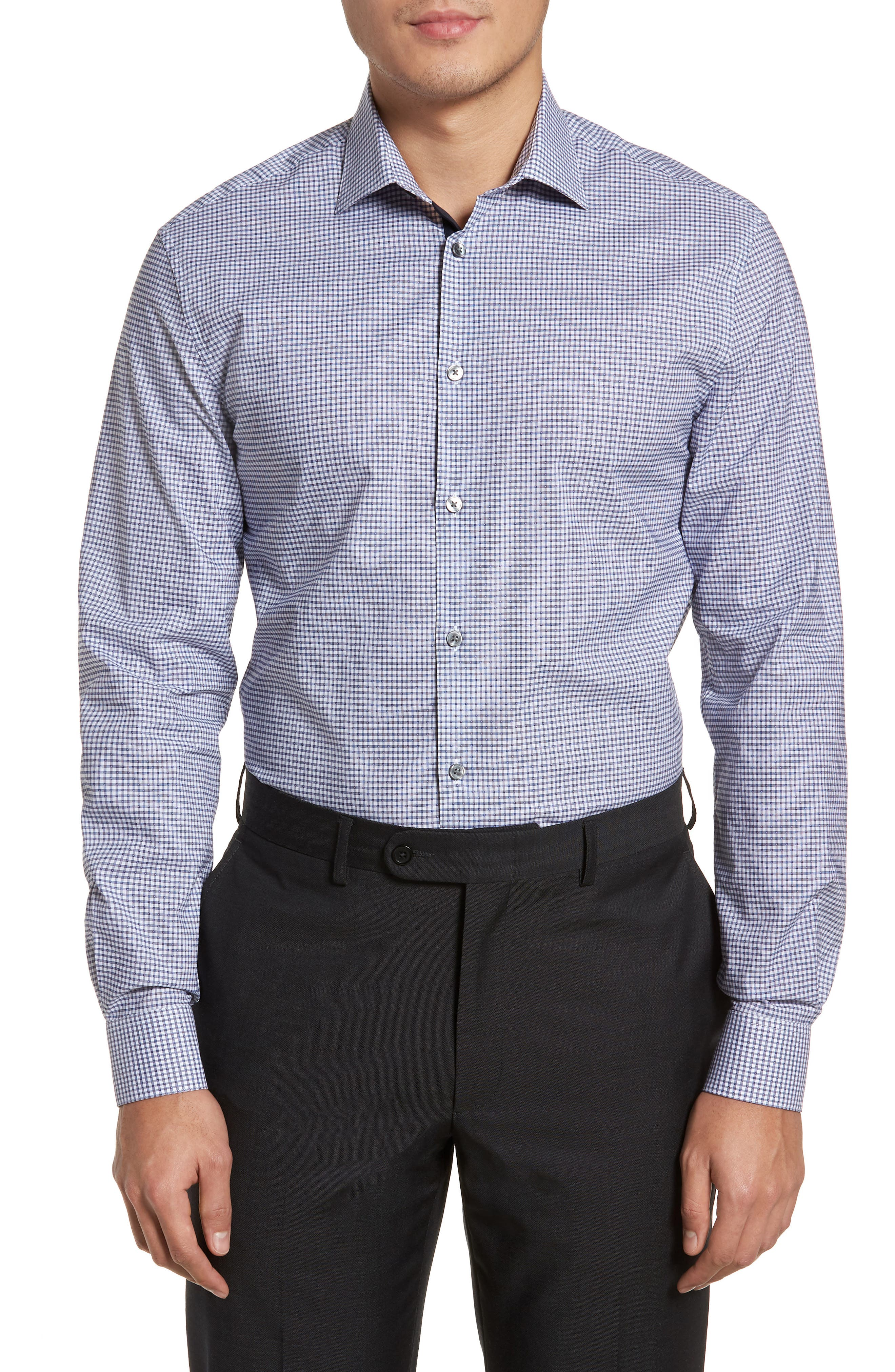 Slim Fit Stretch Check Dress Shirt,                         Main,                         color, Indigo