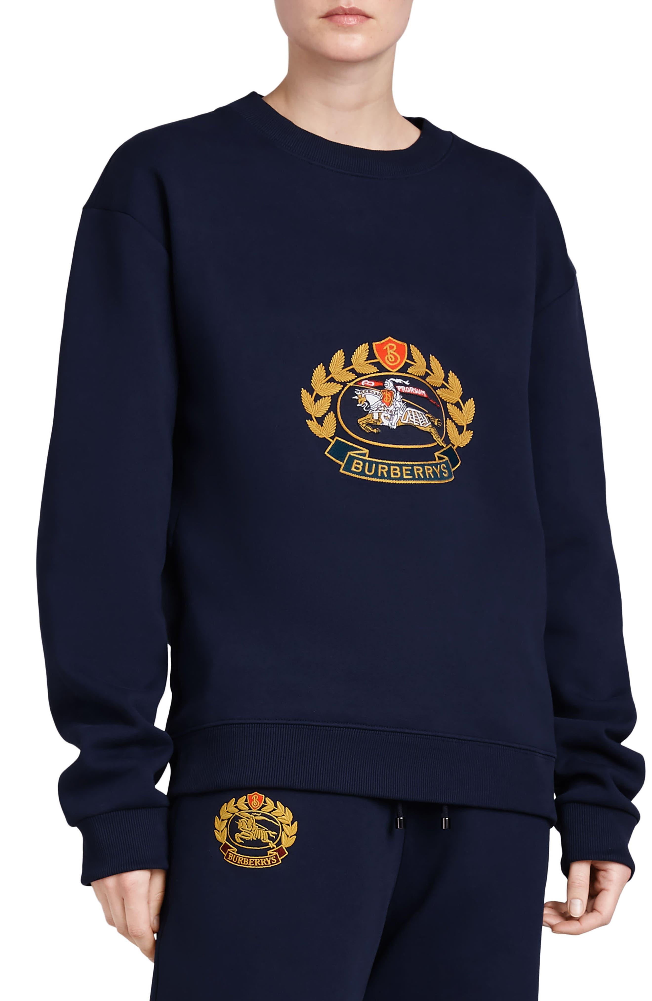 Vintage Crest Sweatshirt,                         Main,                         color, Midnight Blue