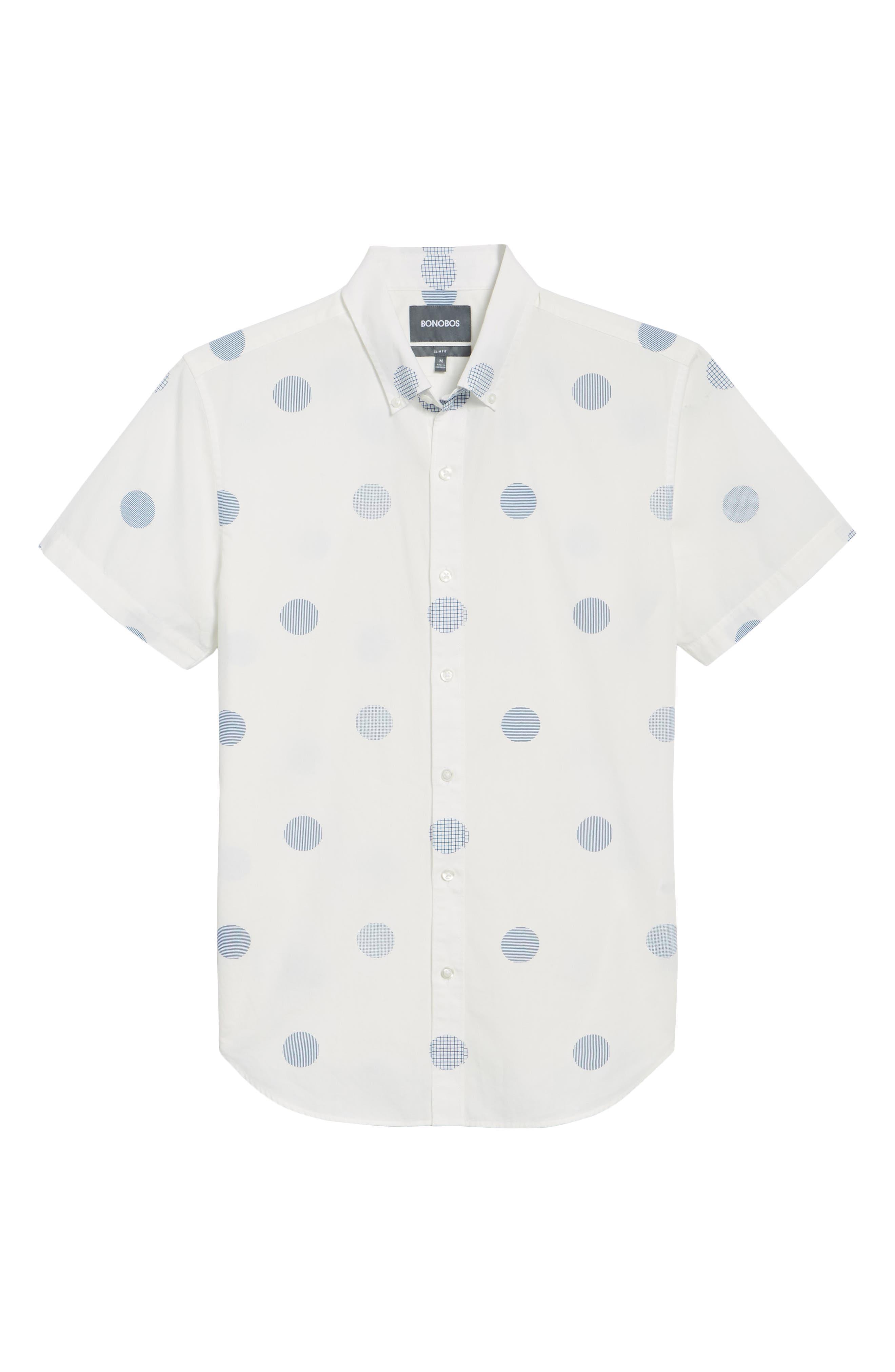 Slim Fit Polka Dot Sport Shirt,                             Alternate thumbnail 6, color,                             Kingston Dot - Maritime Blue