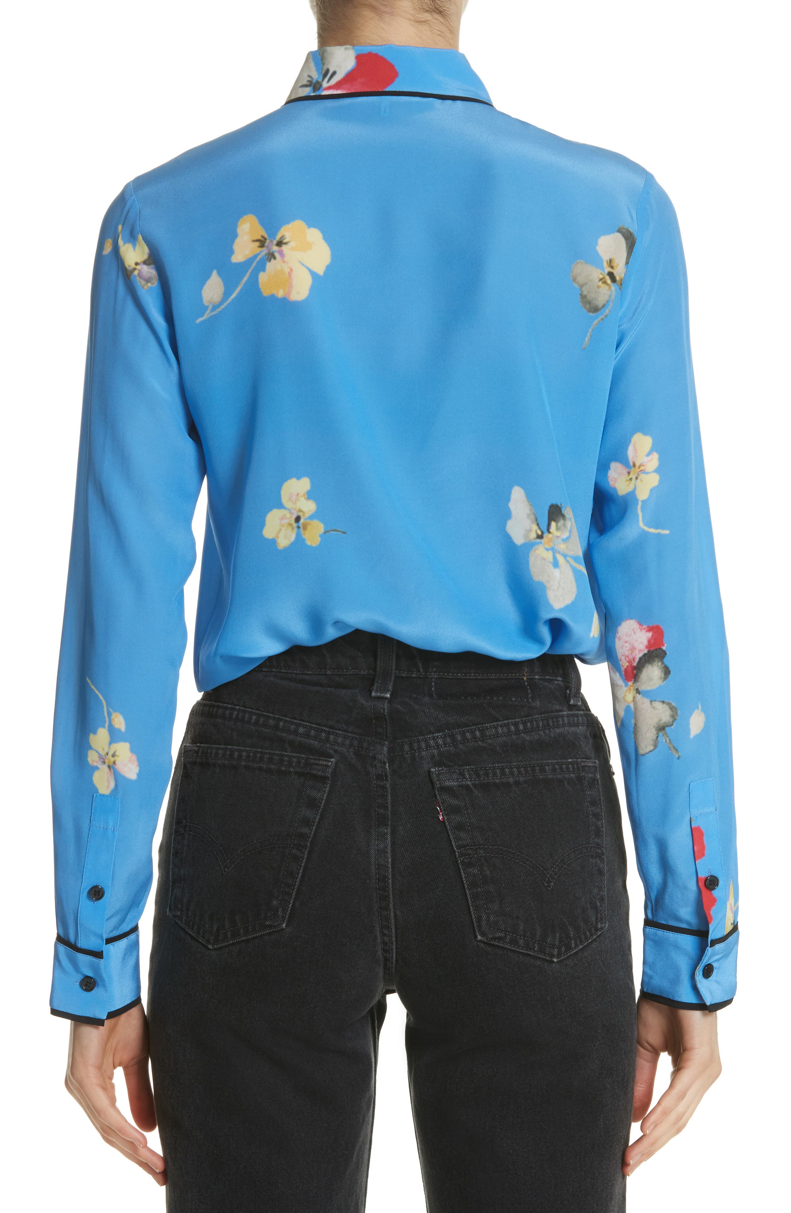 Joycedale Floral Silk Shirt,                             Alternate thumbnail 2, color,                             Marina