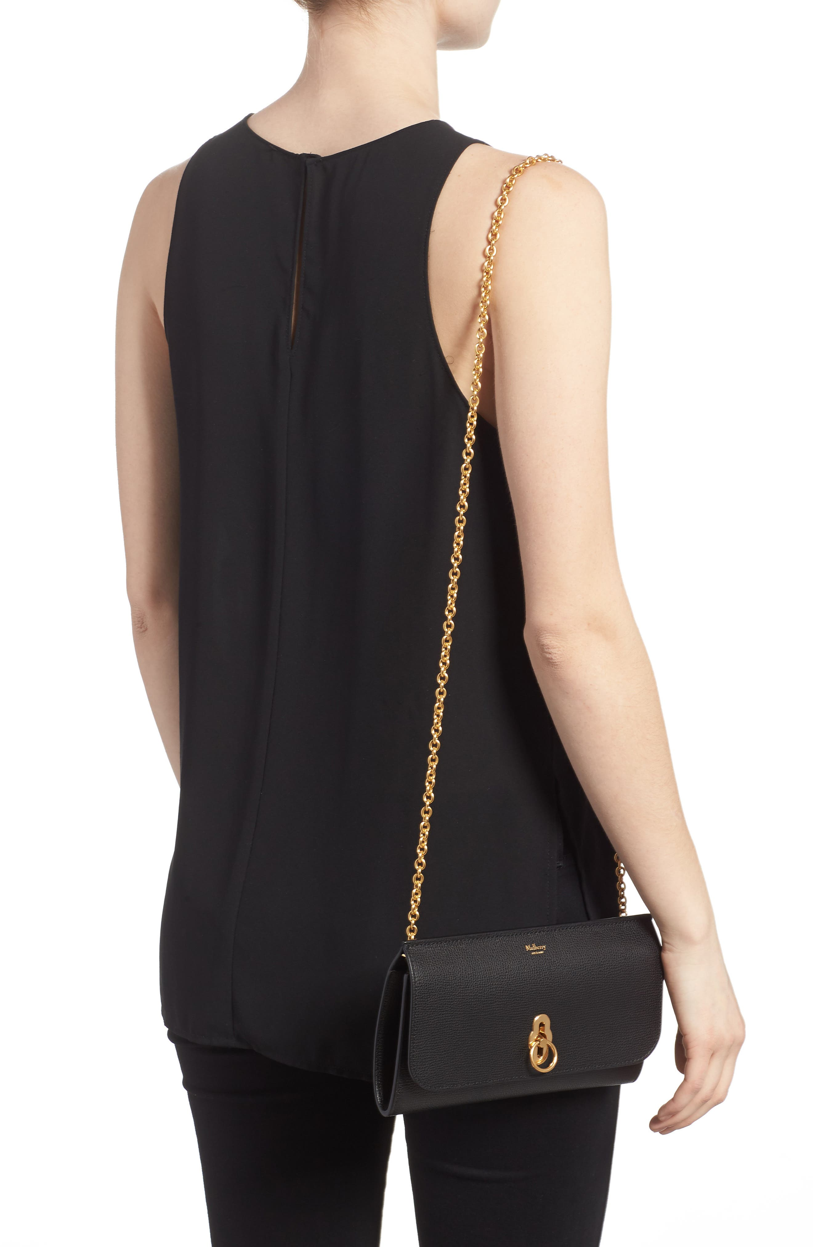 Amberley Calfskin Leather Clutch,                             Alternate thumbnail 2, color,                             Black
