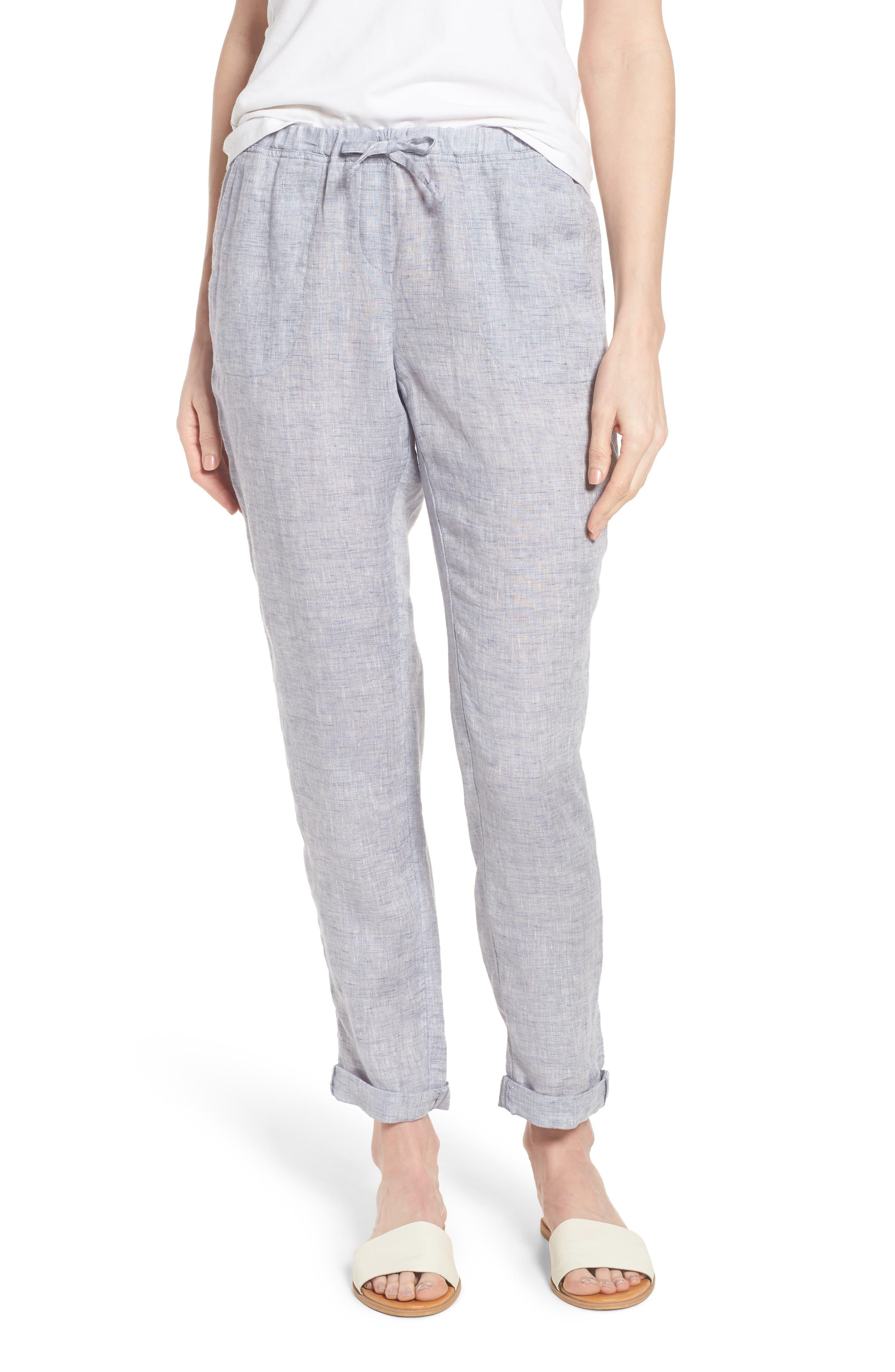 Laid Back Linen Pants,                         Main,                         color, Indigo Mix