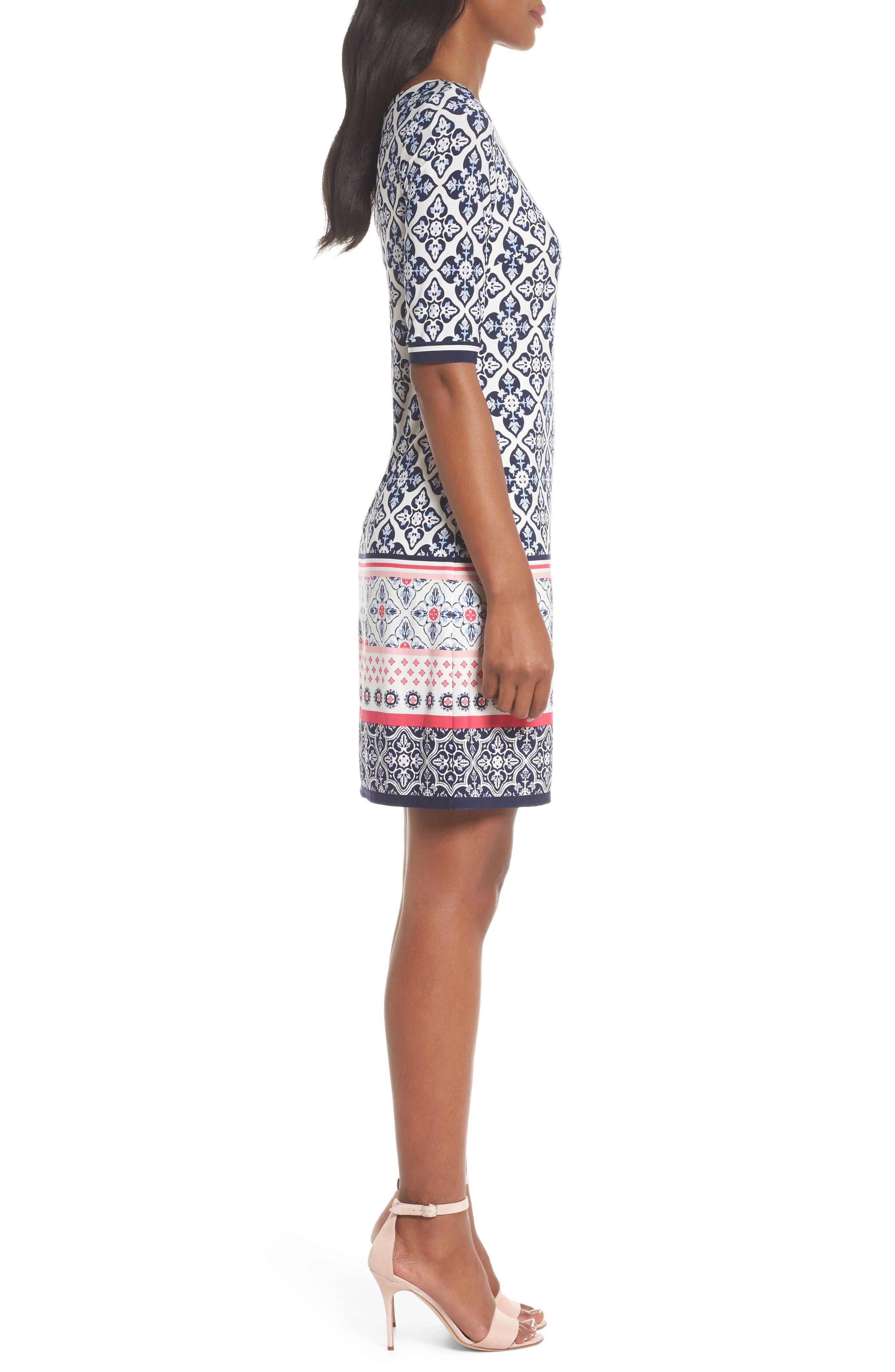 Print Sheath Dress,                             Alternate thumbnail 3, color,                             Black/ Pink