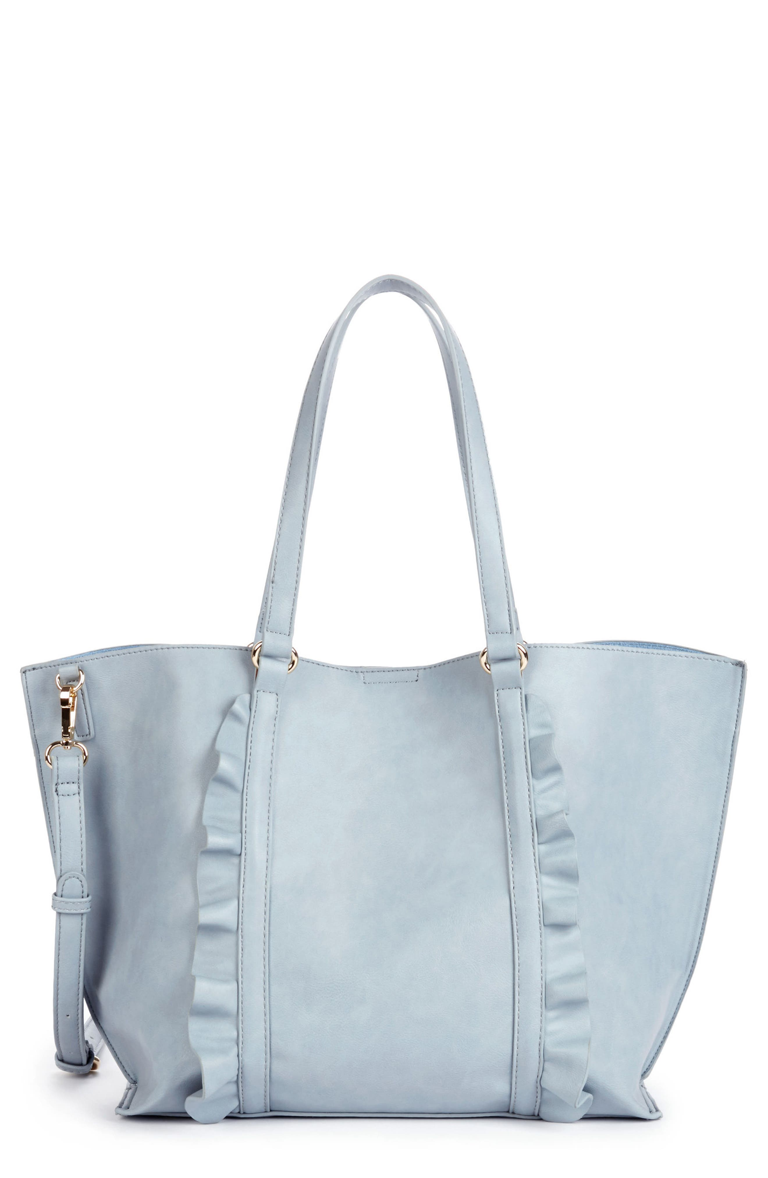 Adelina Ruffled Faux Leather Tote,                             Main thumbnail 1, color,                             Powder Blue