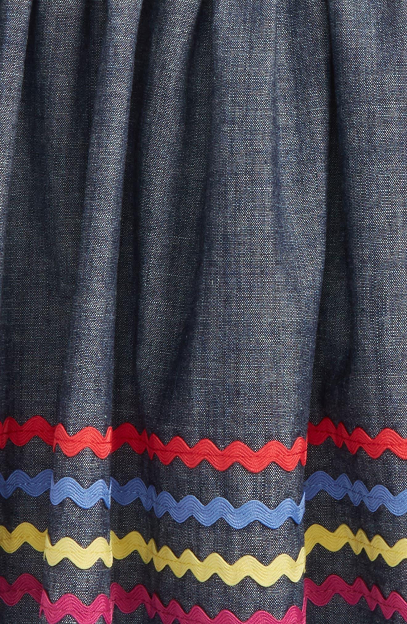 Rickrack Twirl Skirt,                             Alternate thumbnail 2, color,                             Blue Chambray