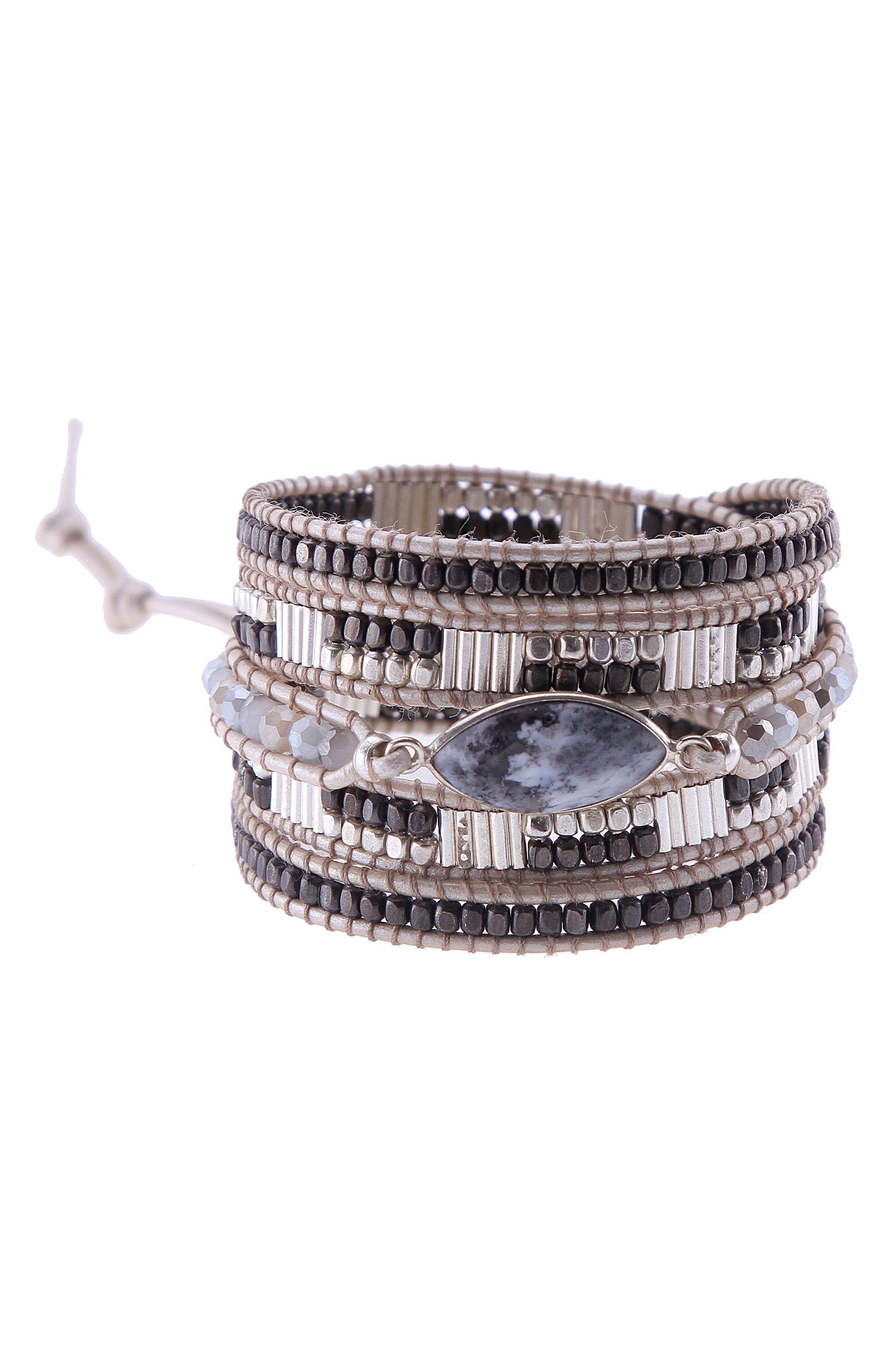 Beaded Agate Wrap Bracelet,                         Main,                         color, White