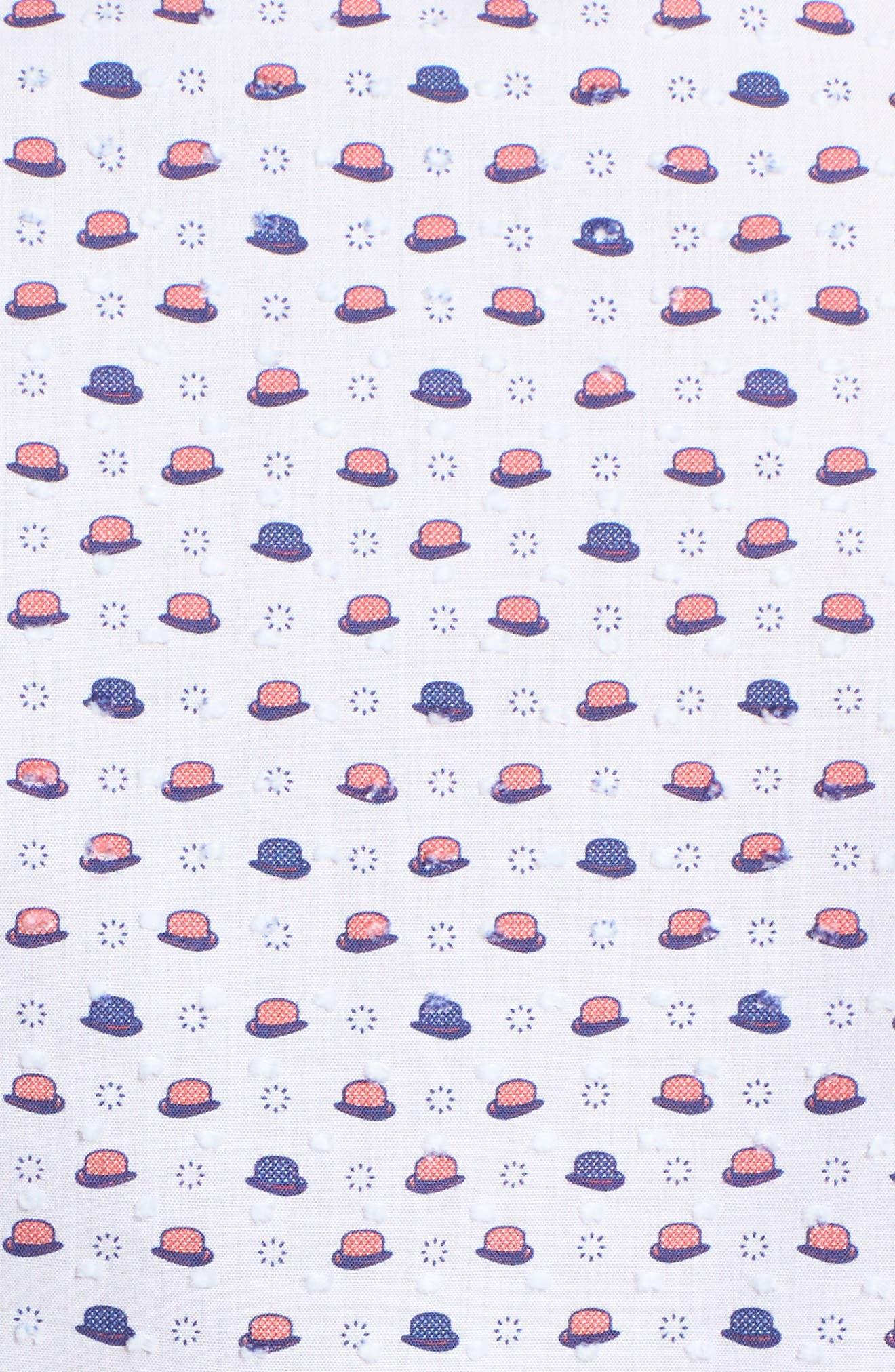 Contemporary Fit Bowler Hat Print Sport Shirt,                             Alternate thumbnail 5, color,                             White