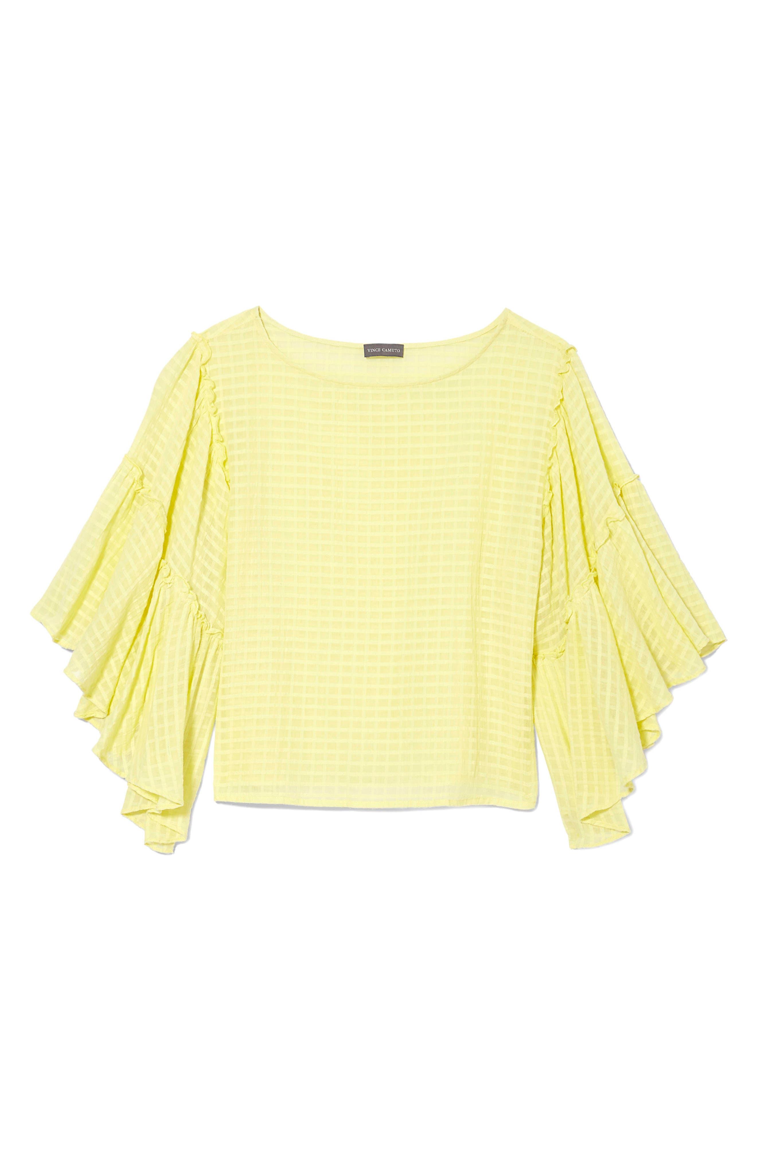 Grid Drop Shoulder Ruffle Sleeve Blouse,                             Alternate thumbnail 3, color,                             Lemon Cream