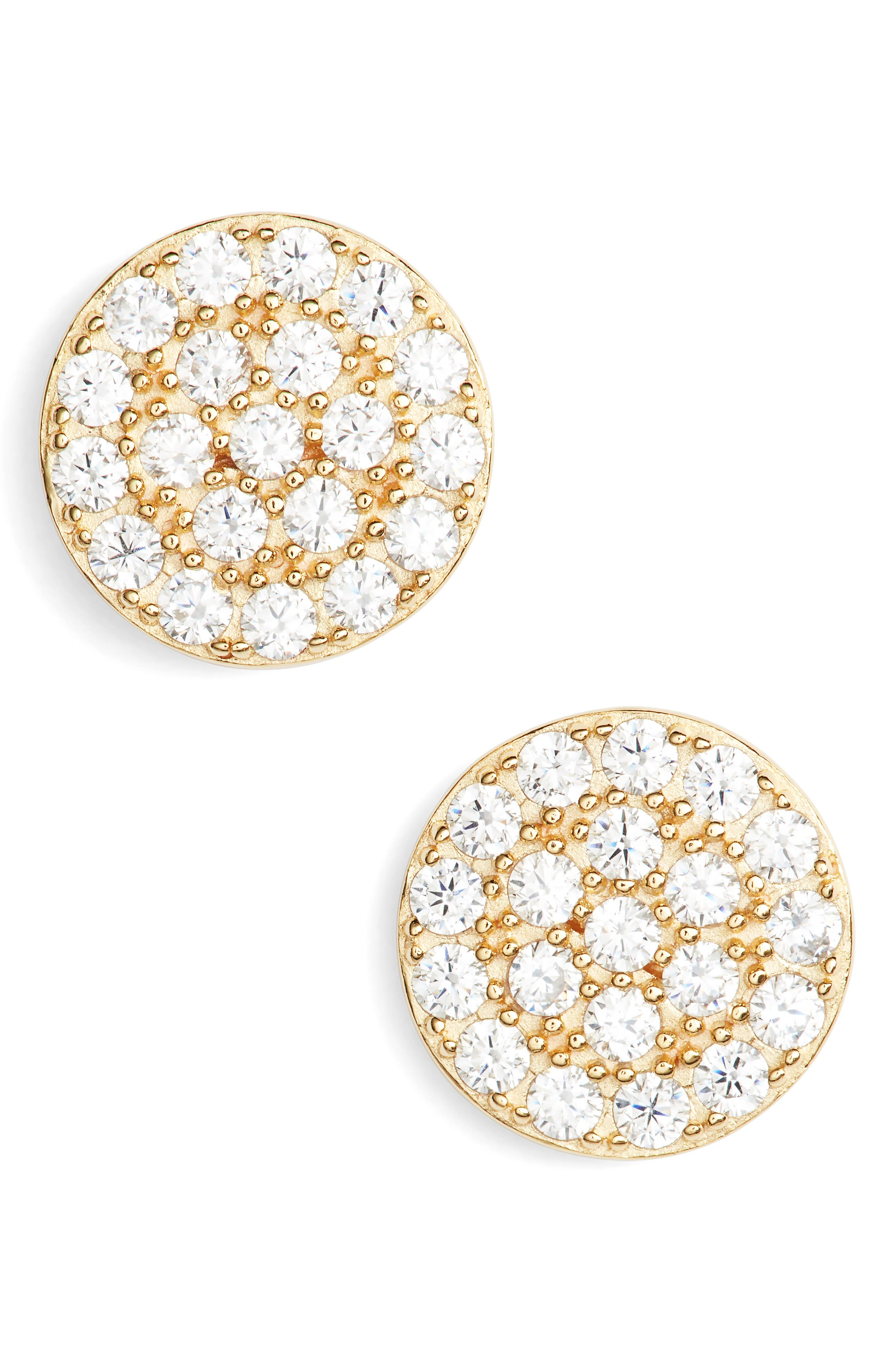 Pavé Disc Stud Earrings,                         Main,                         color, Gold