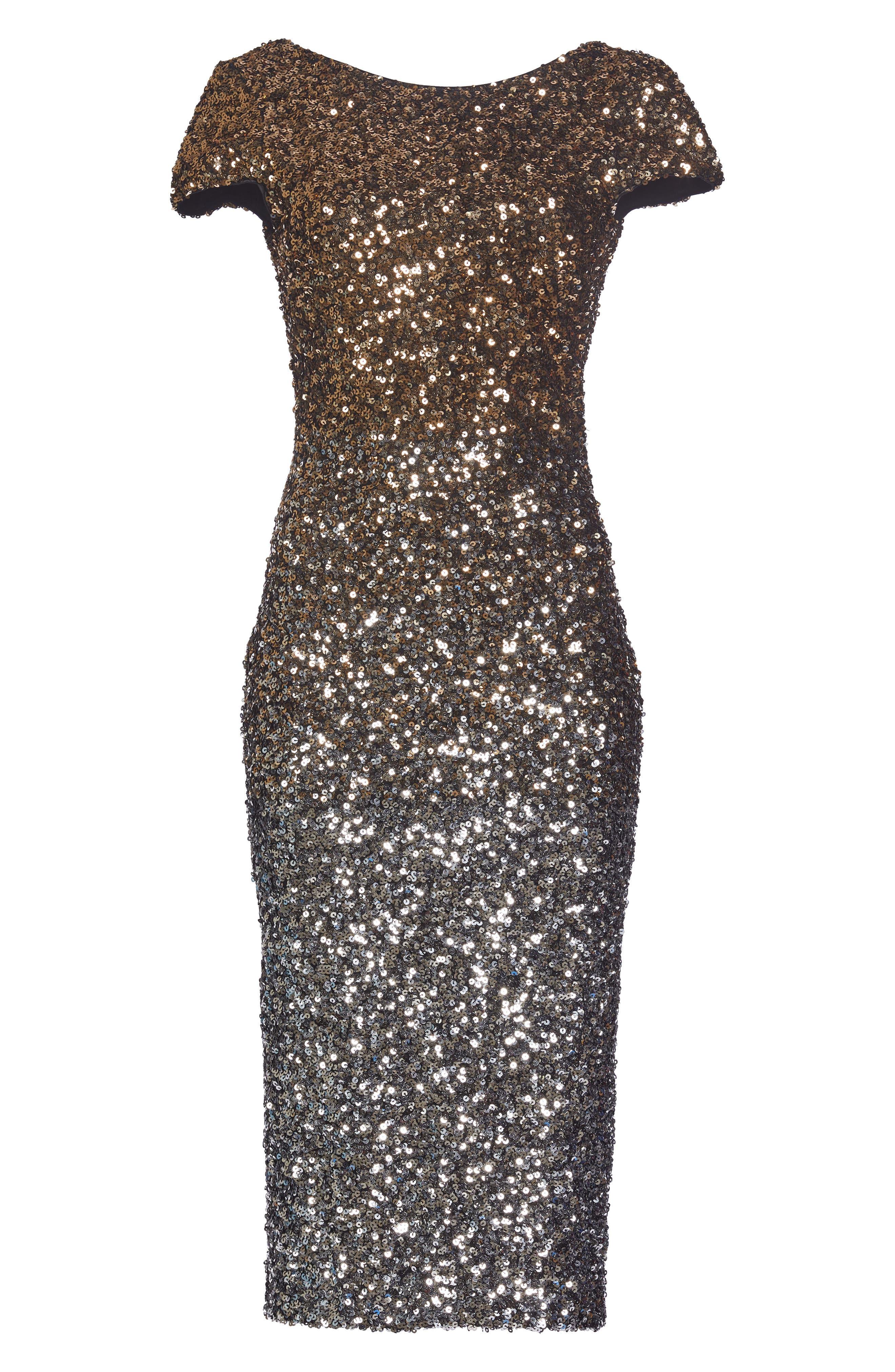 Marcella Ombré Sequin Body-Con Dress,                             Alternate thumbnail 5, color,                             Silver/ Gold