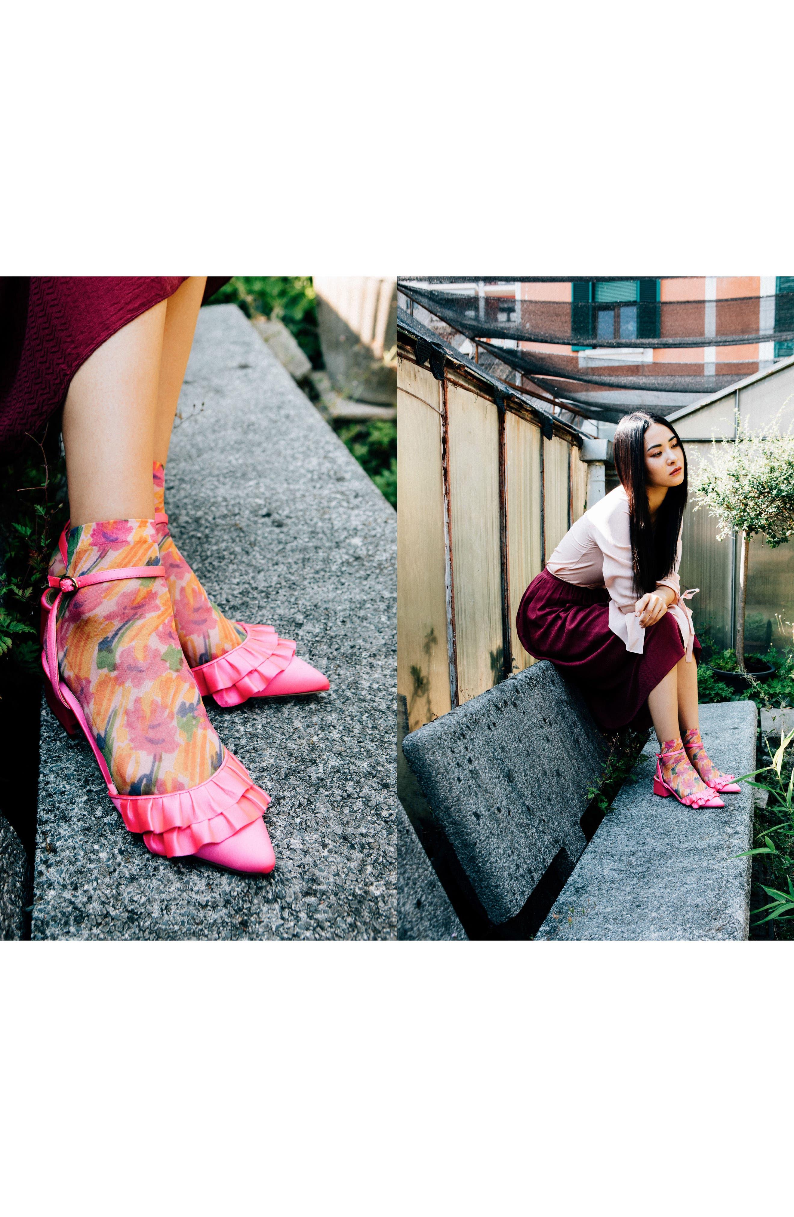 Benedetta Ankle Socks,                             Alternate thumbnail 4, color,                             Fiore Astratto