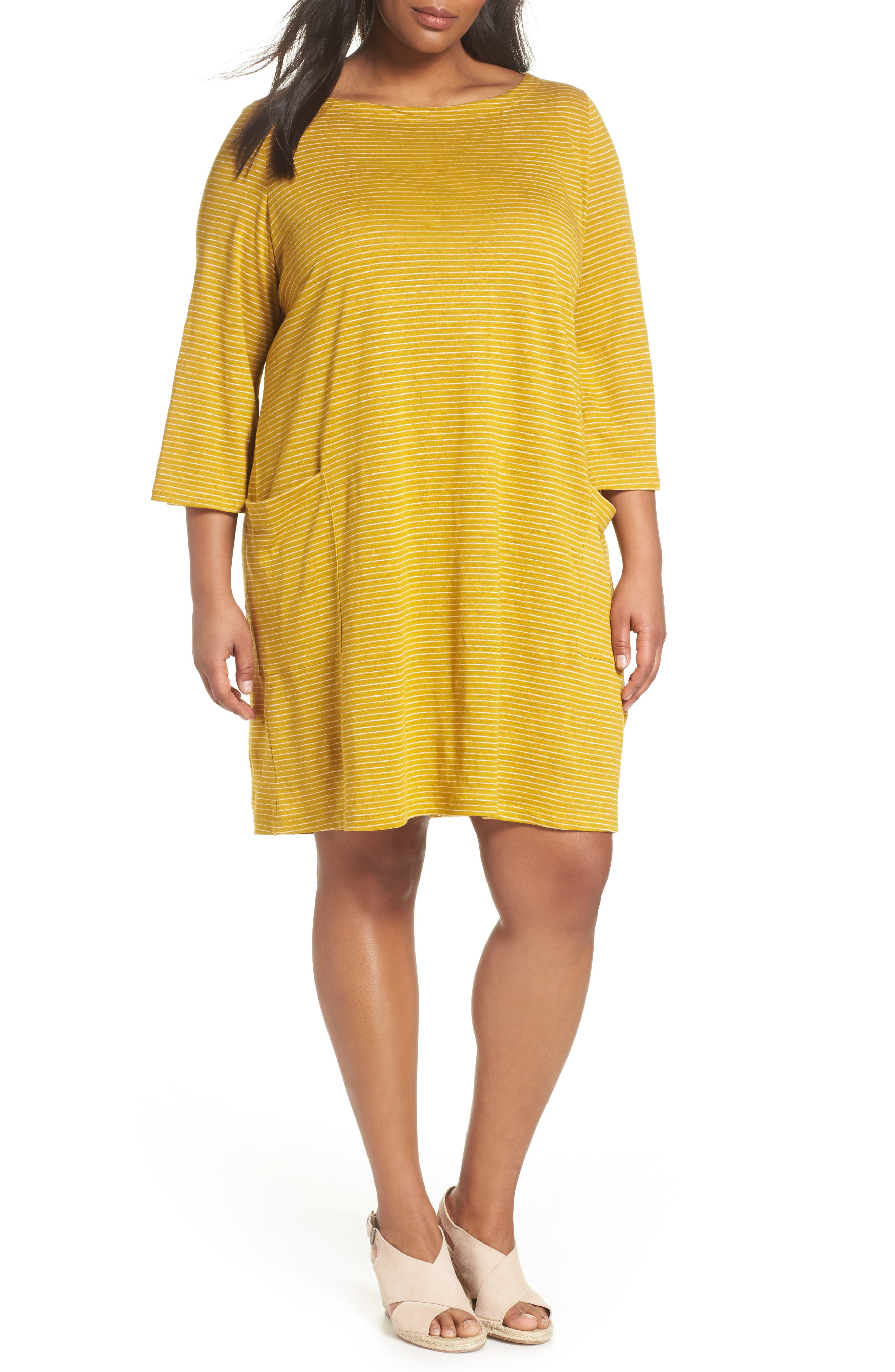 Eileen Fisher Organic Linen Shift Dress (Plus Size)