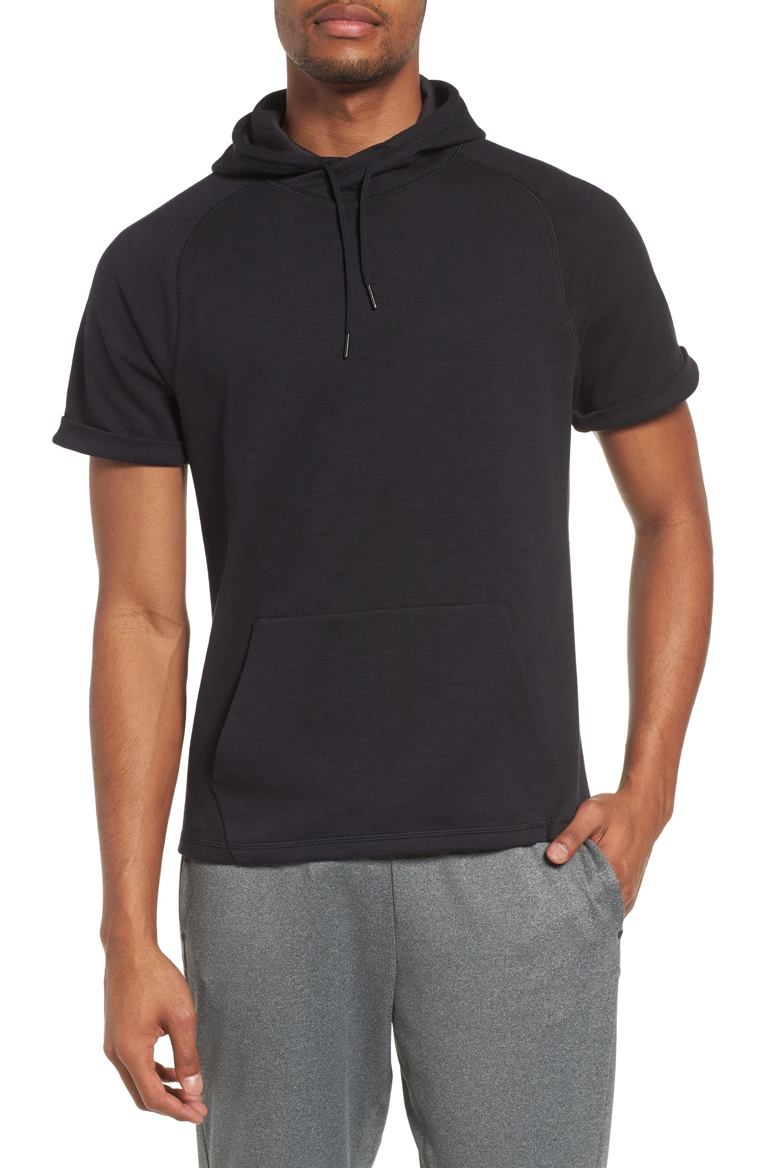 Magnetite Short Sleeve Cotton Blend Hoodie,                         Main,                         color, Black Oxide Melange