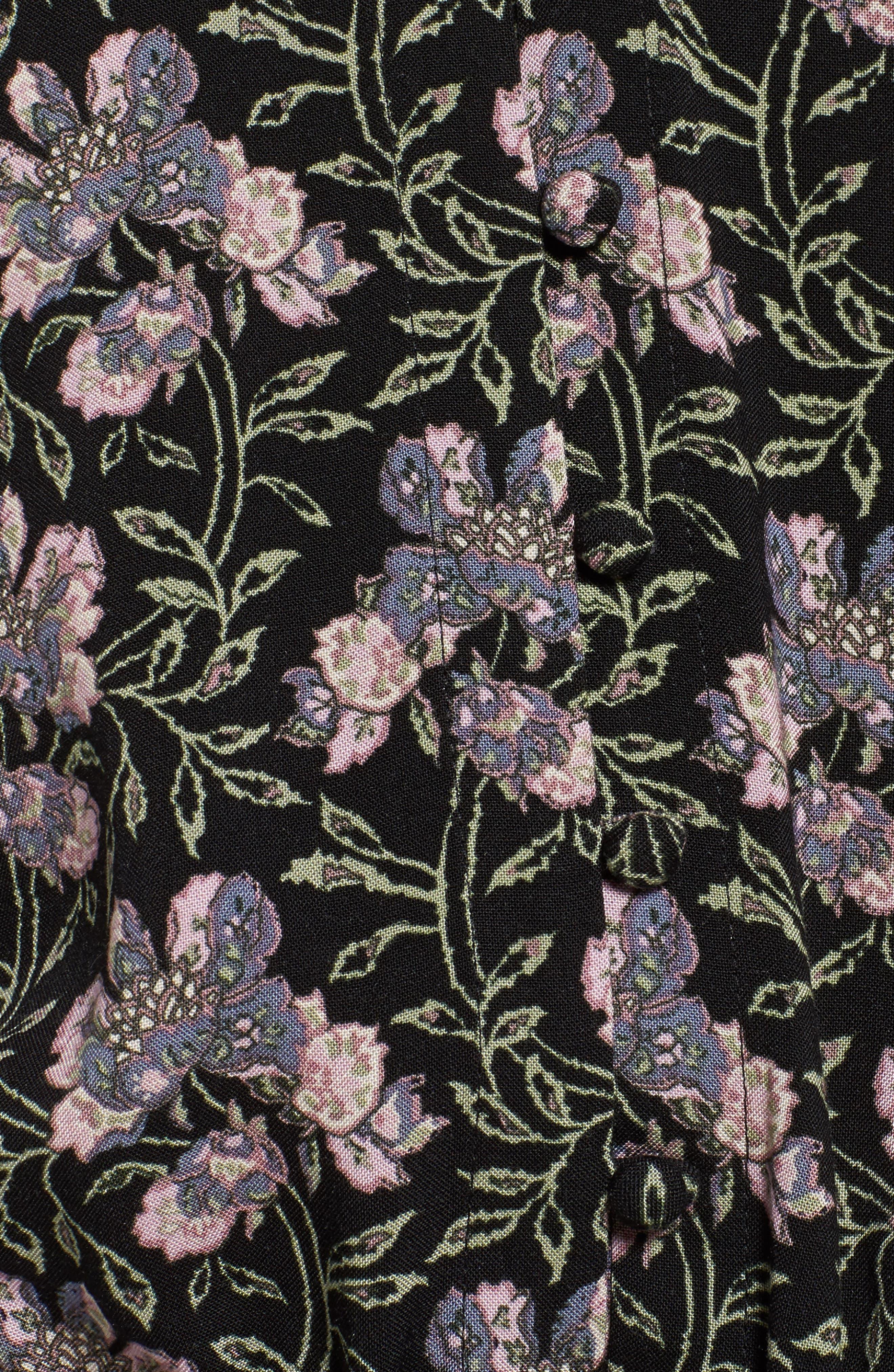 Denisa Floral Tie Cuff Minidress,                             Alternate thumbnail 5, color,                             Storm Cloud Multi