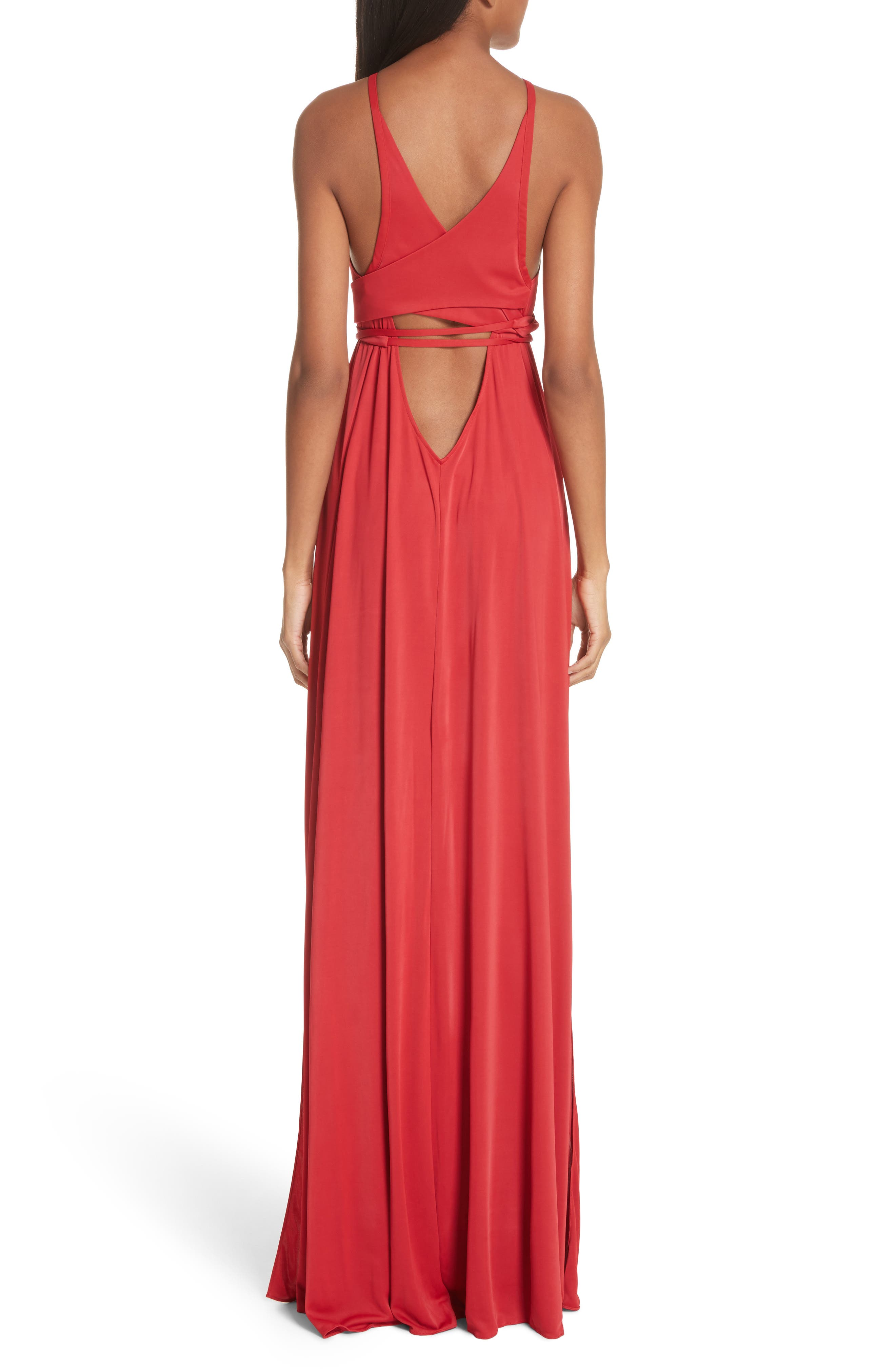 Back Cutout Jersey Gown,                             Alternate thumbnail 2, color,                             Red