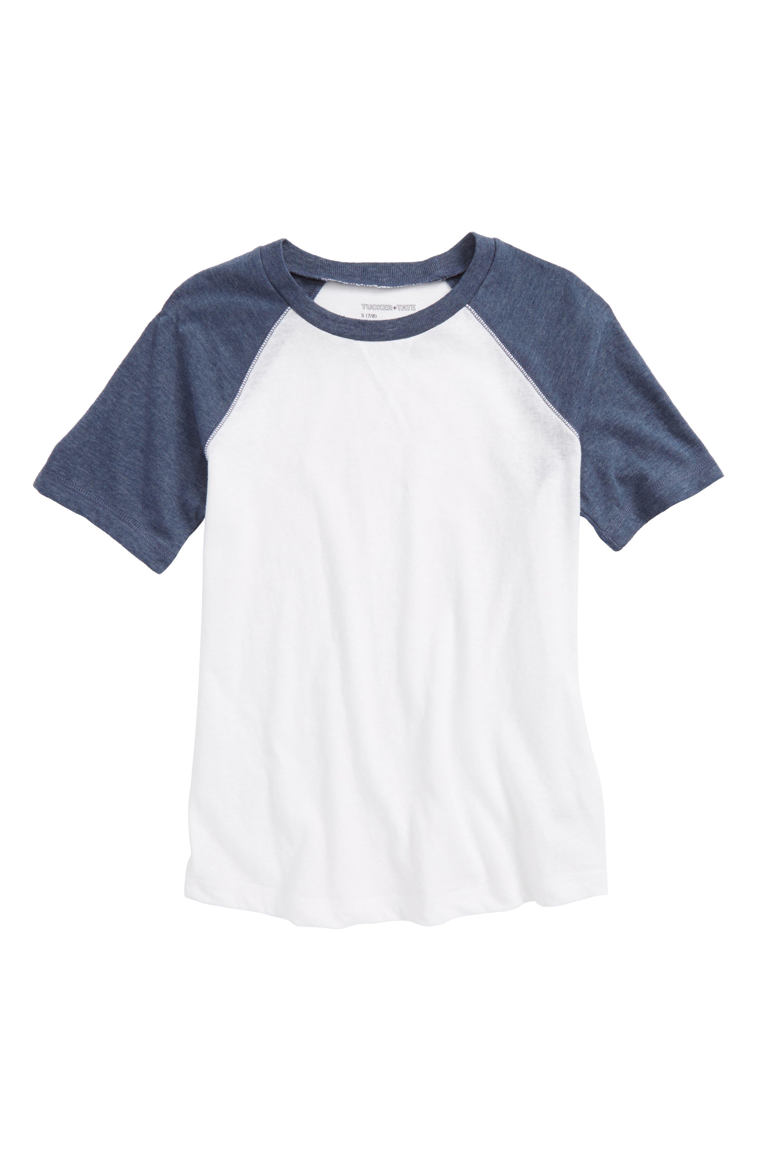 Baseball T-Shirt,                             Main thumbnail 1, color,                             White- Navy