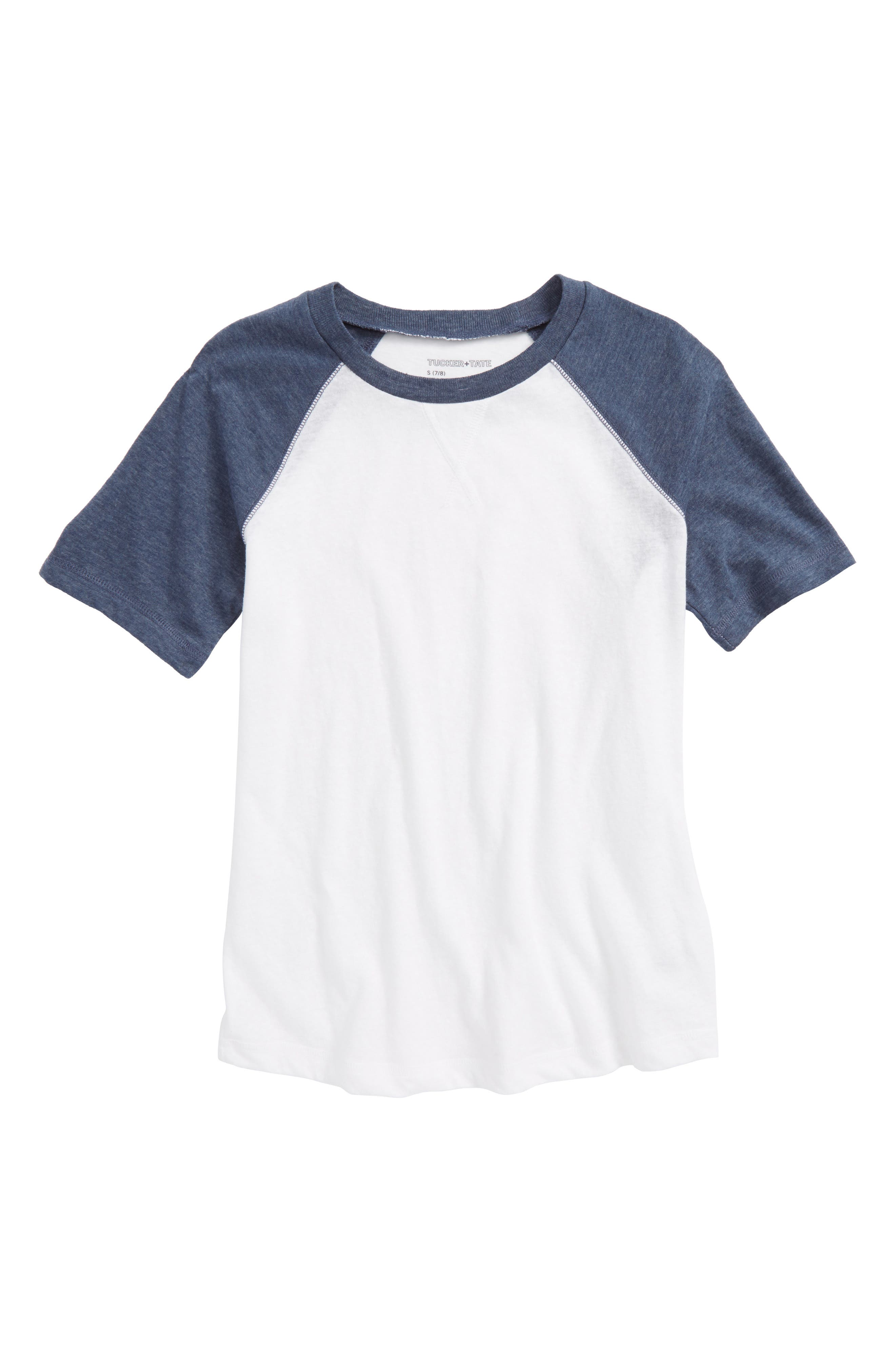 Baseball T-Shirt,                         Main,                         color, White- Navy