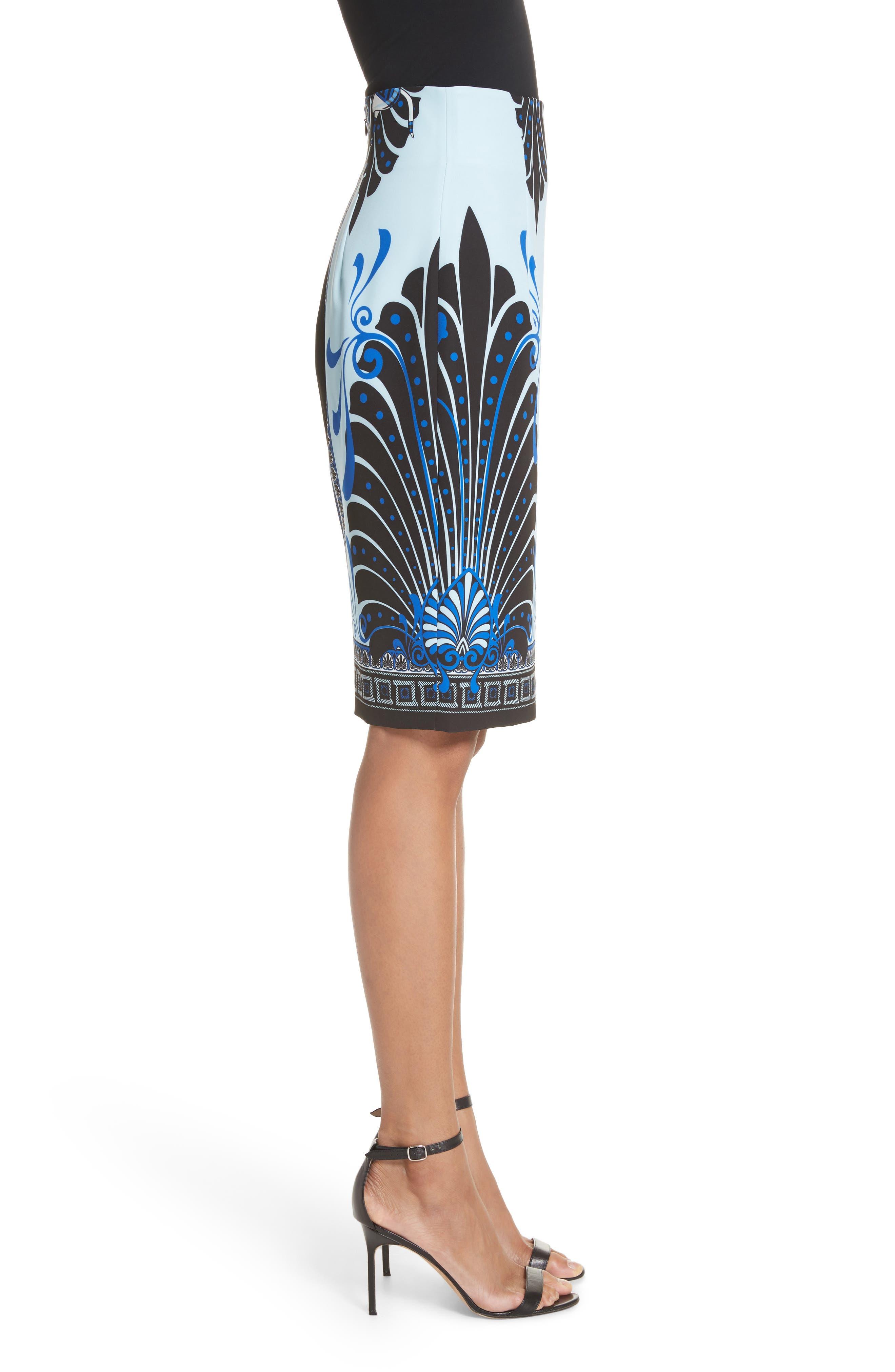 Eros Cady Pencil Skirt,                             Alternate thumbnail 3, color,                             Light Blue/ Print