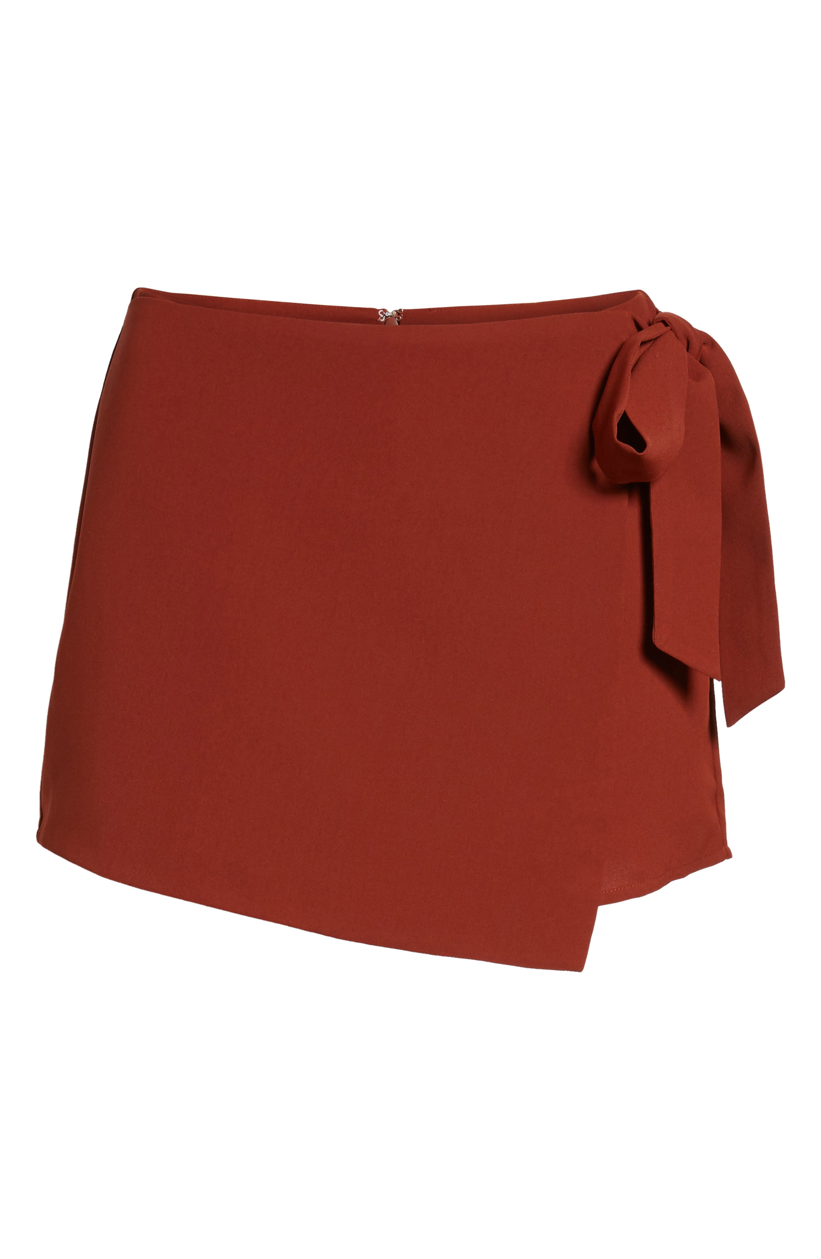 Tie Waist Short,                             Alternate thumbnail 6, color,                             Auburn