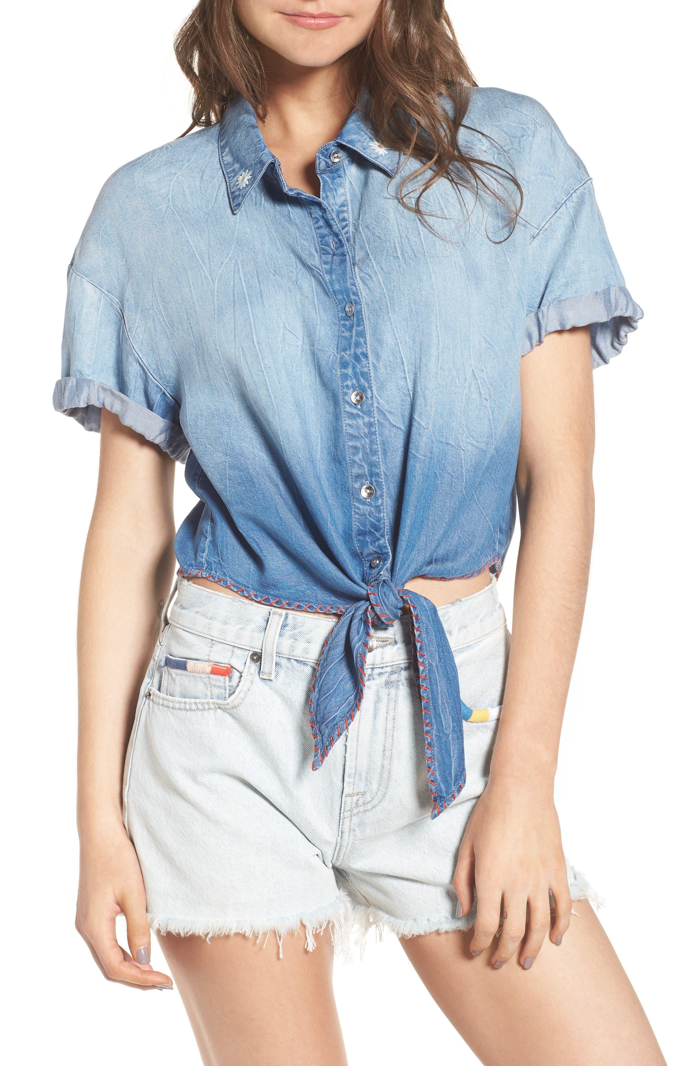 x Margherita Roma Indigo Shirt,                         Main,                         color, Cielo Wash