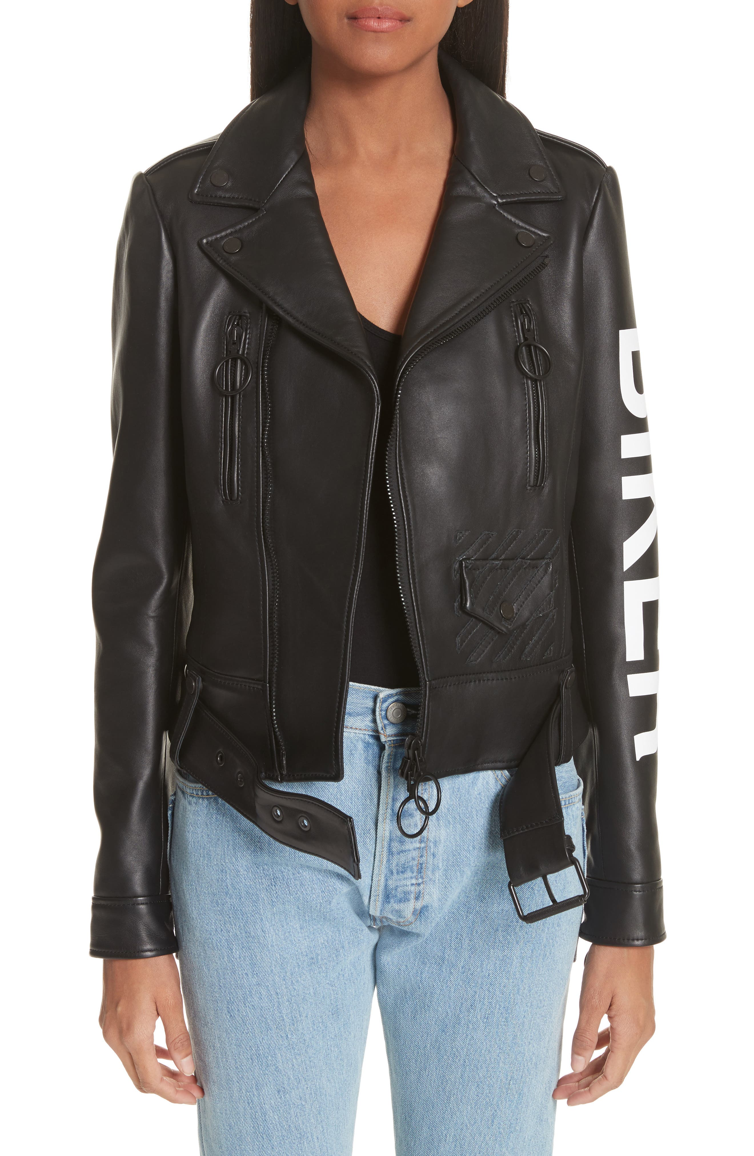 Leather Biker Jacket,                             Main thumbnail 1, color,                             Black/ White