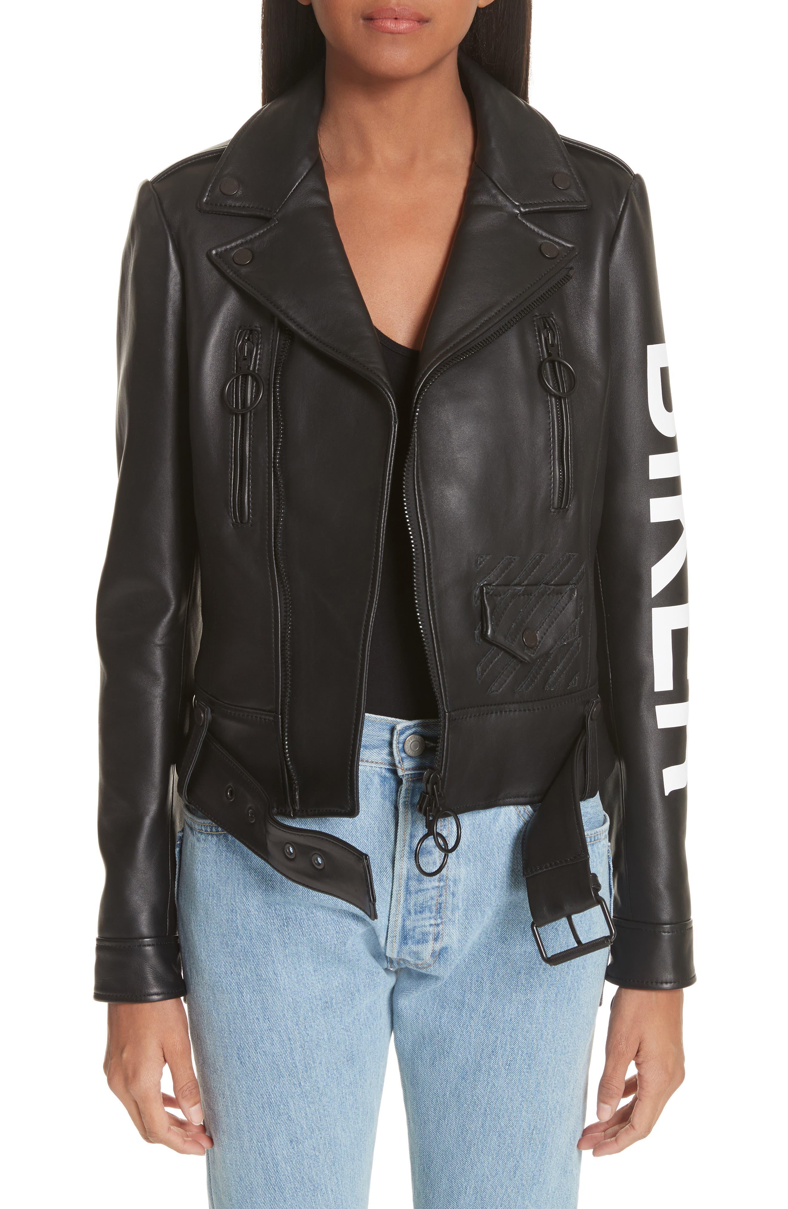 Leather Biker Jacket,                         Main,                         color, Black/ White