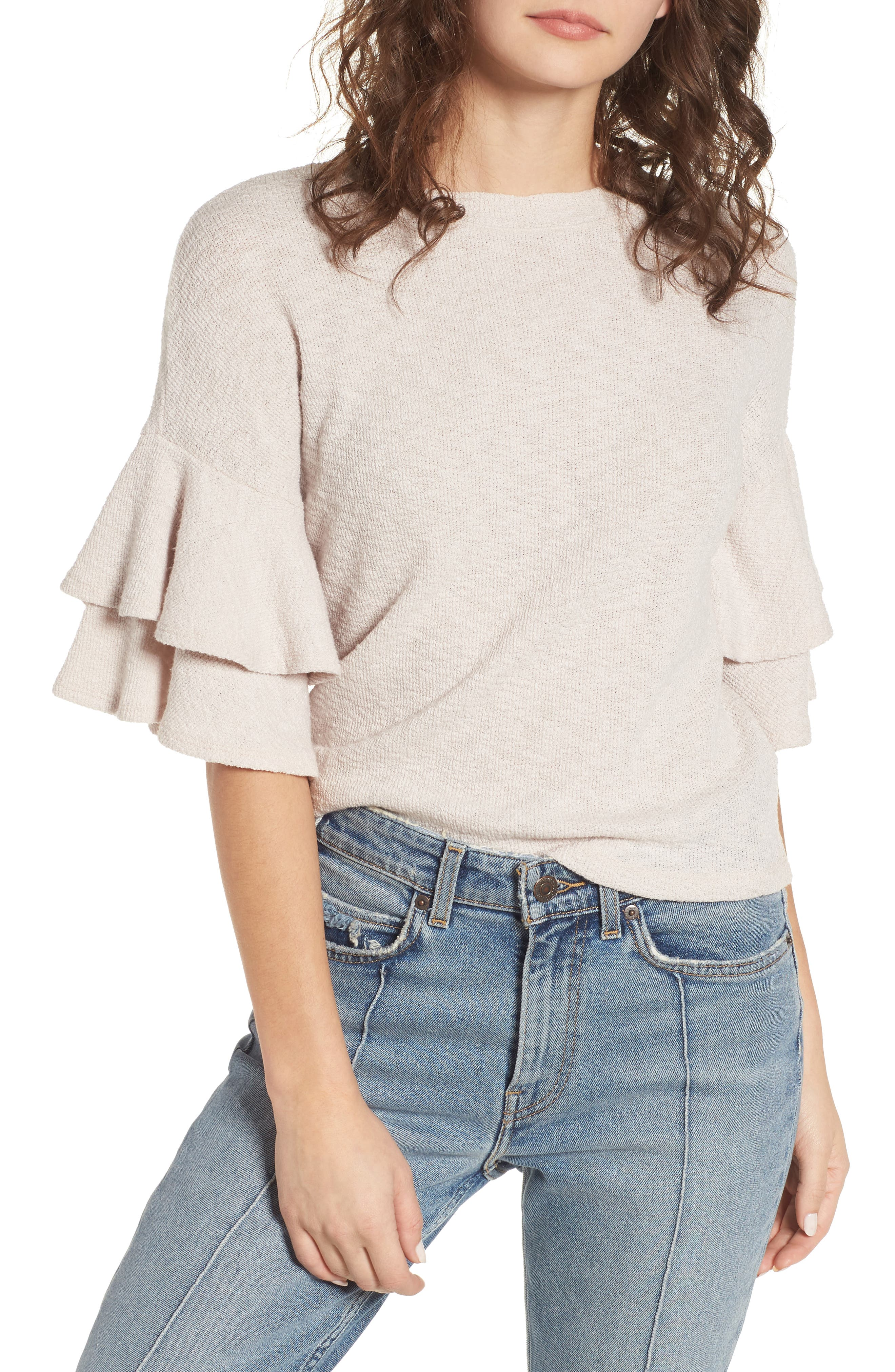Cherry Blossom Ruffle Sleeve Top,                         Main,                         color, Pale Pink