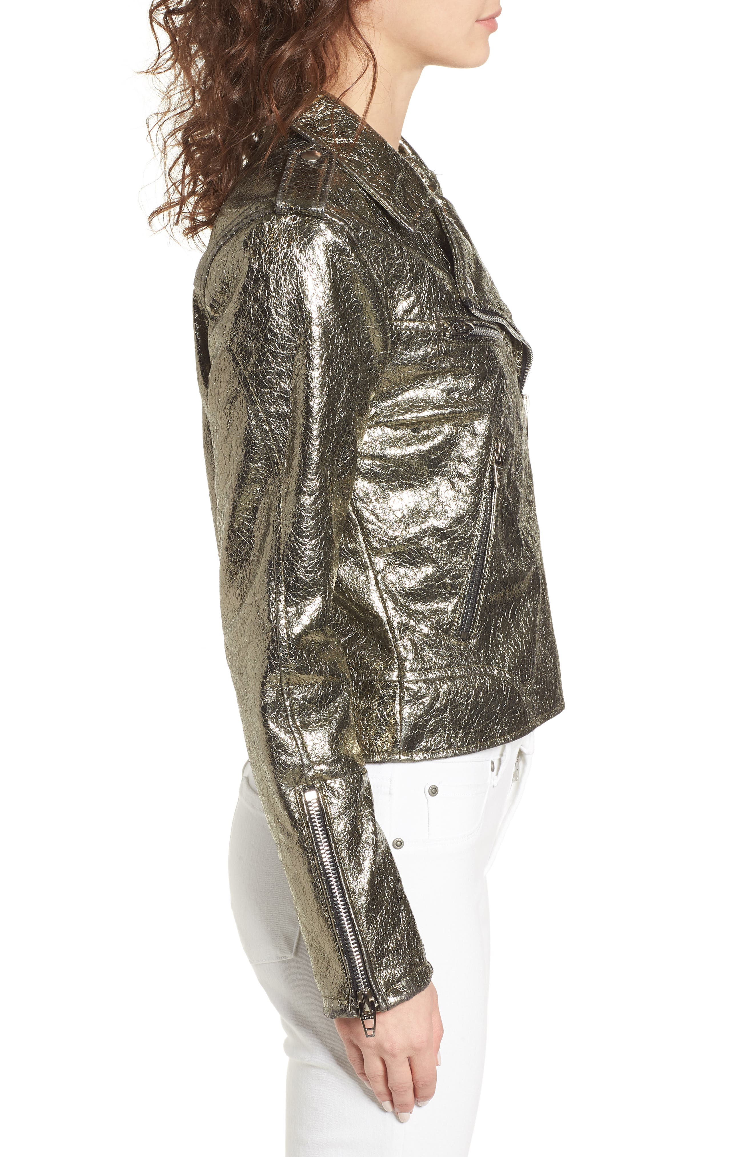 Metallic Faux Leather Moto Jacket,                             Alternate thumbnail 4, color,                             Turning Heads
