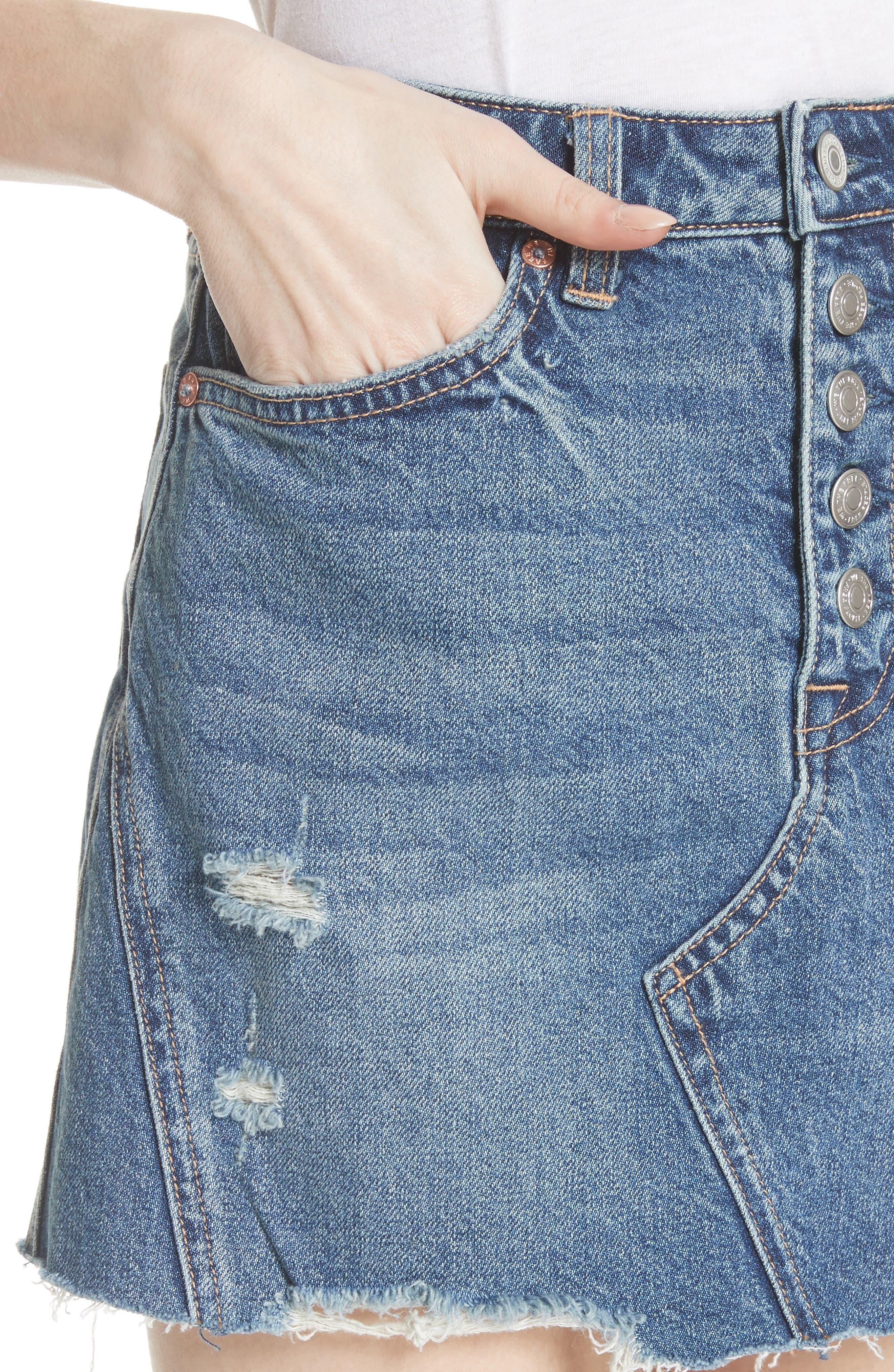 A-Line Denim Skirt,                             Alternate thumbnail 4, color,                             Blue