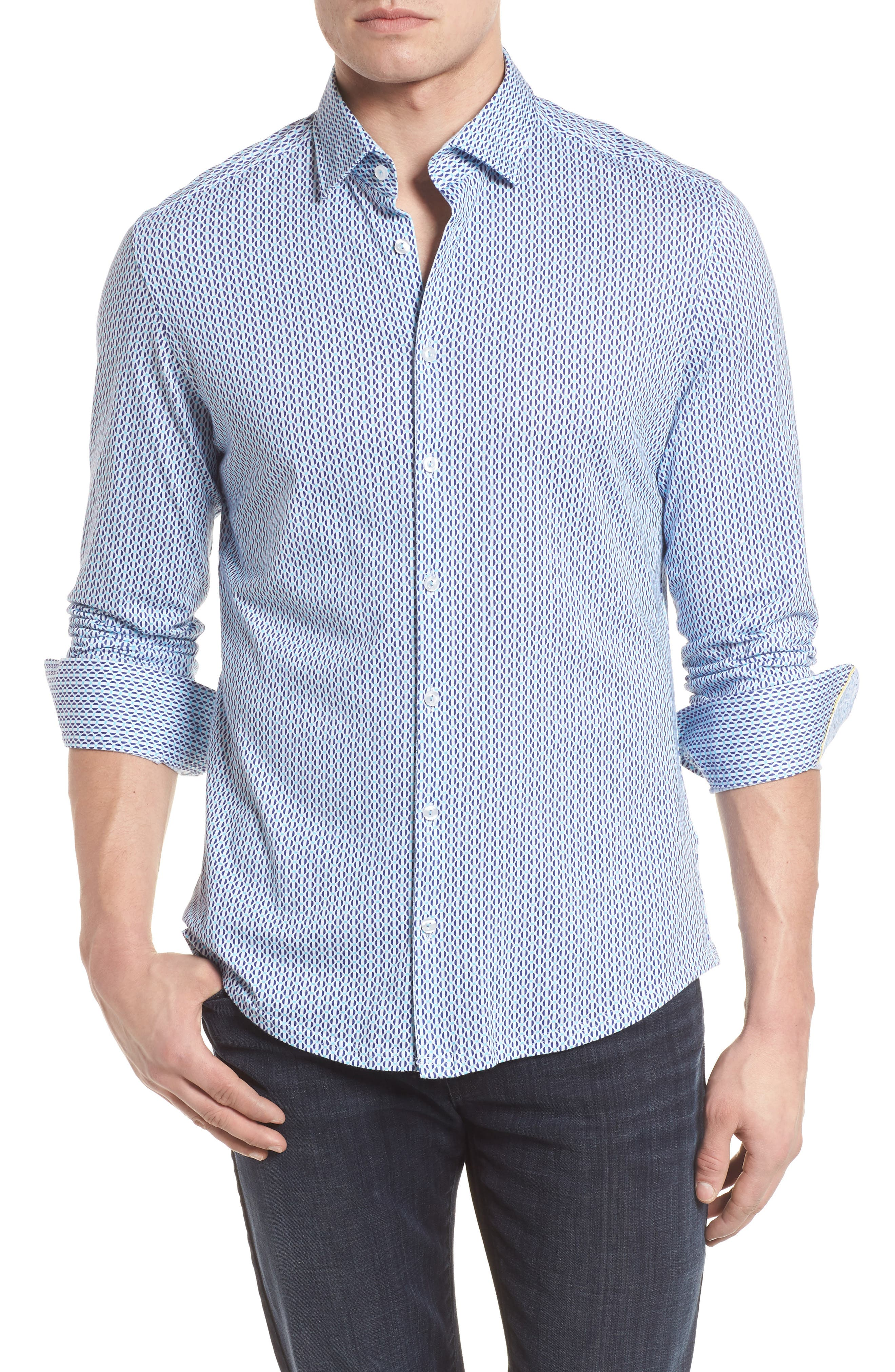 Contemporary Fit Geometric Print Sport Shirt,                         Main,                         color, Turquoise