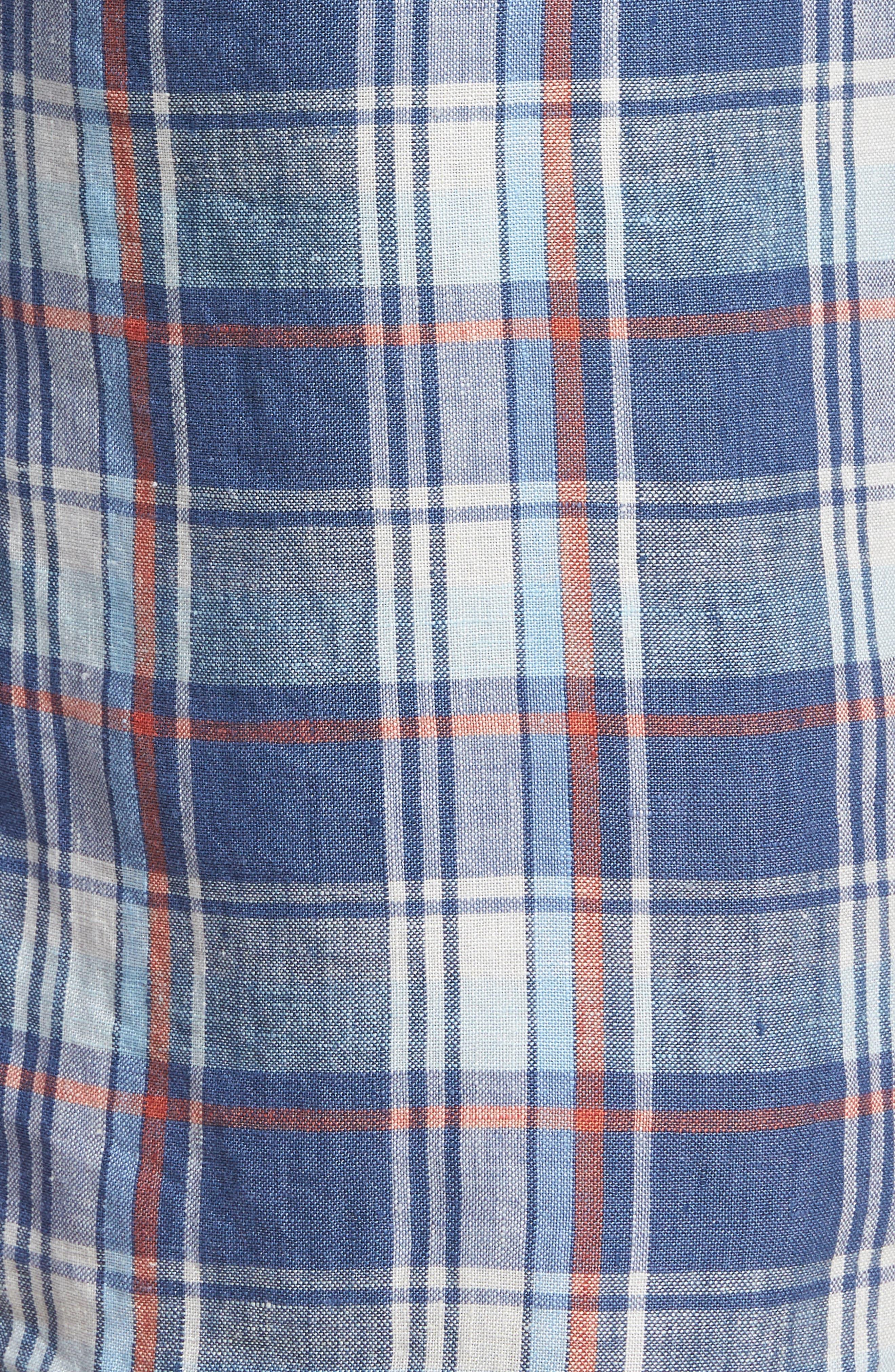 Plaid de Leon Reversible Linen Shorts,                             Alternate thumbnail 5, color,                             Dockside Blue