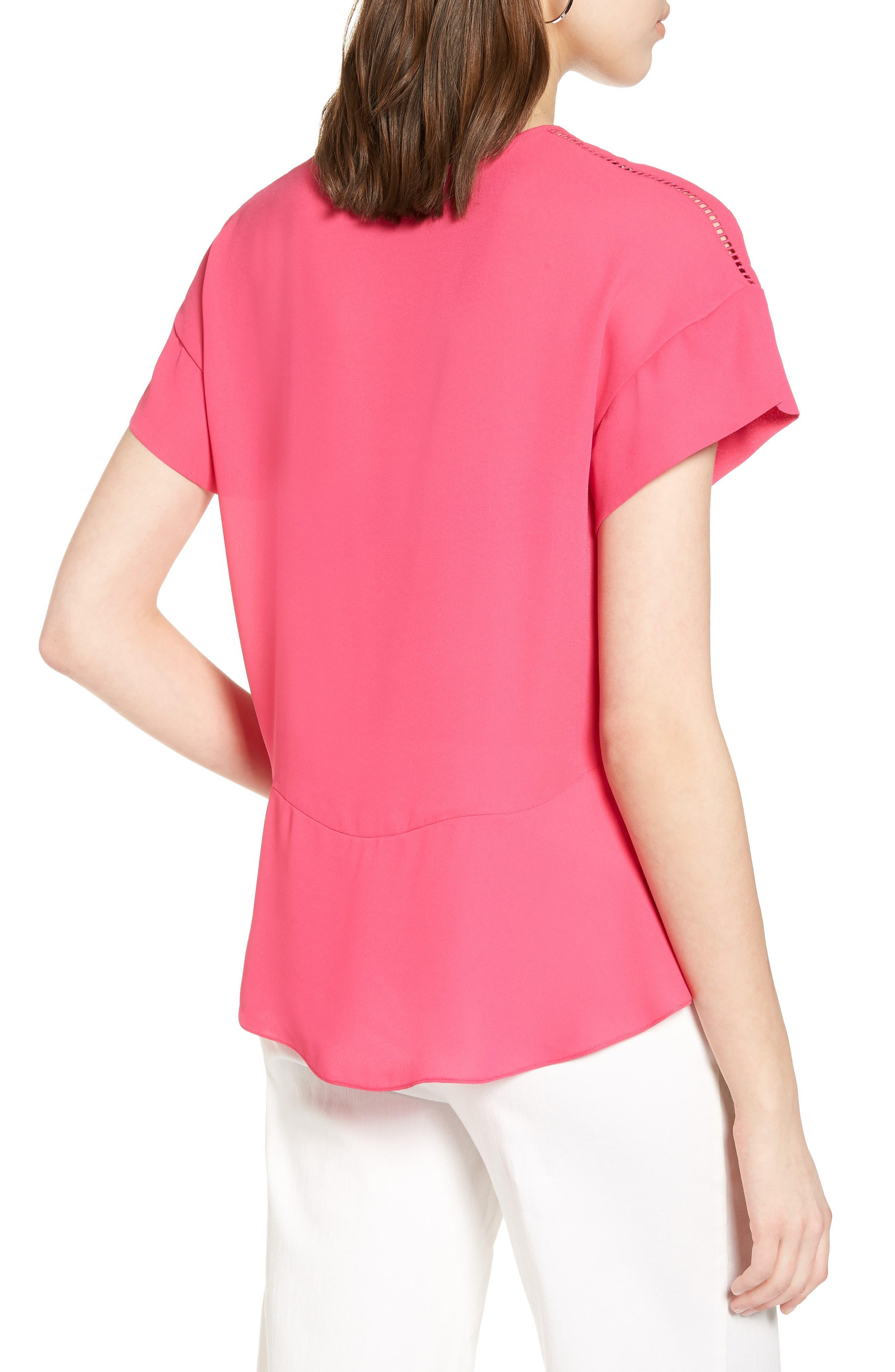 Ruffle Sleeve Peplum Stretch Cotton Blend Top,                             Alternate thumbnail 2, color,                             Pink Cabaret