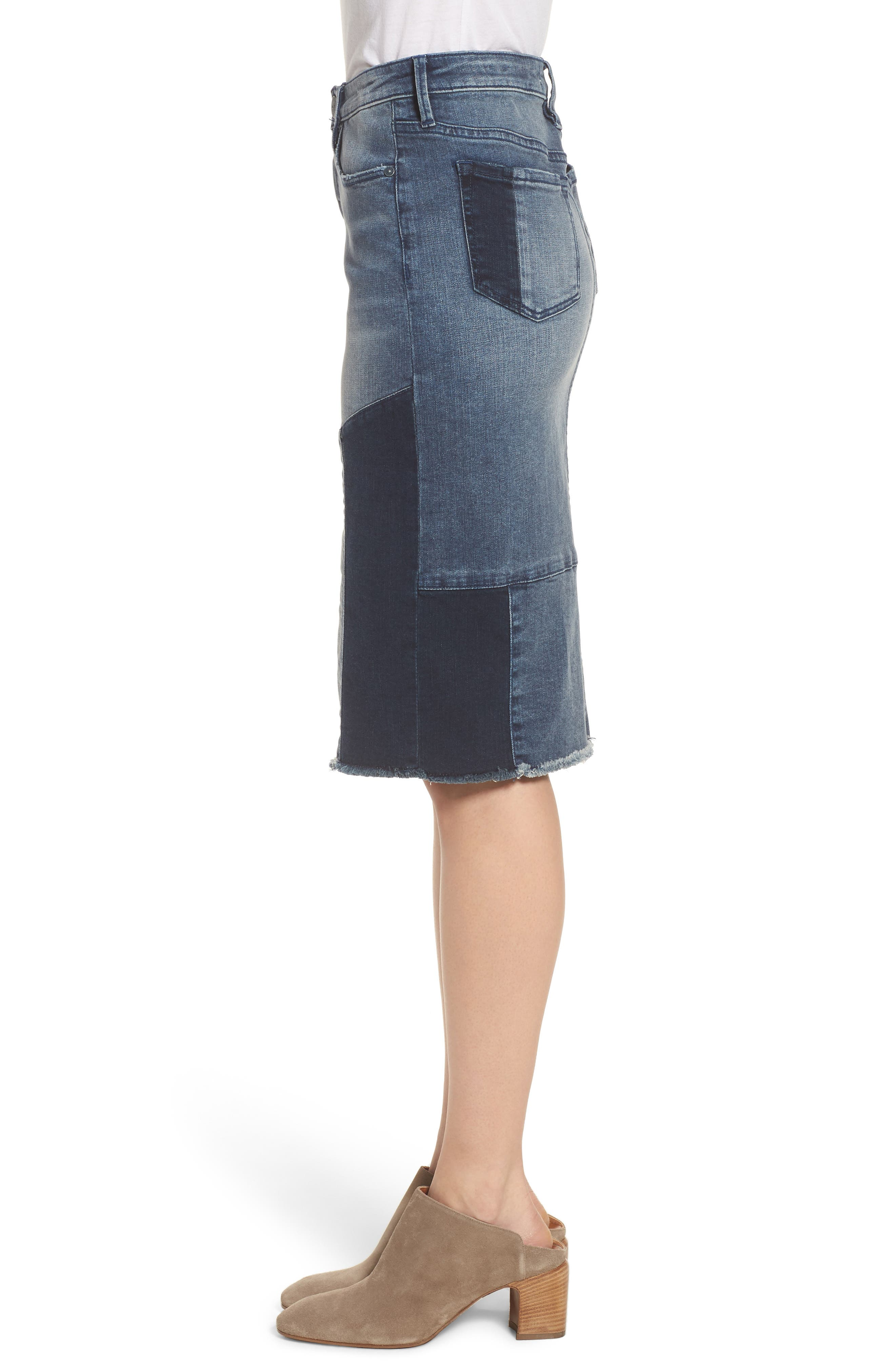 Patchwork Denim Skirt,                             Alternate thumbnail 4, color,                             Vanessa