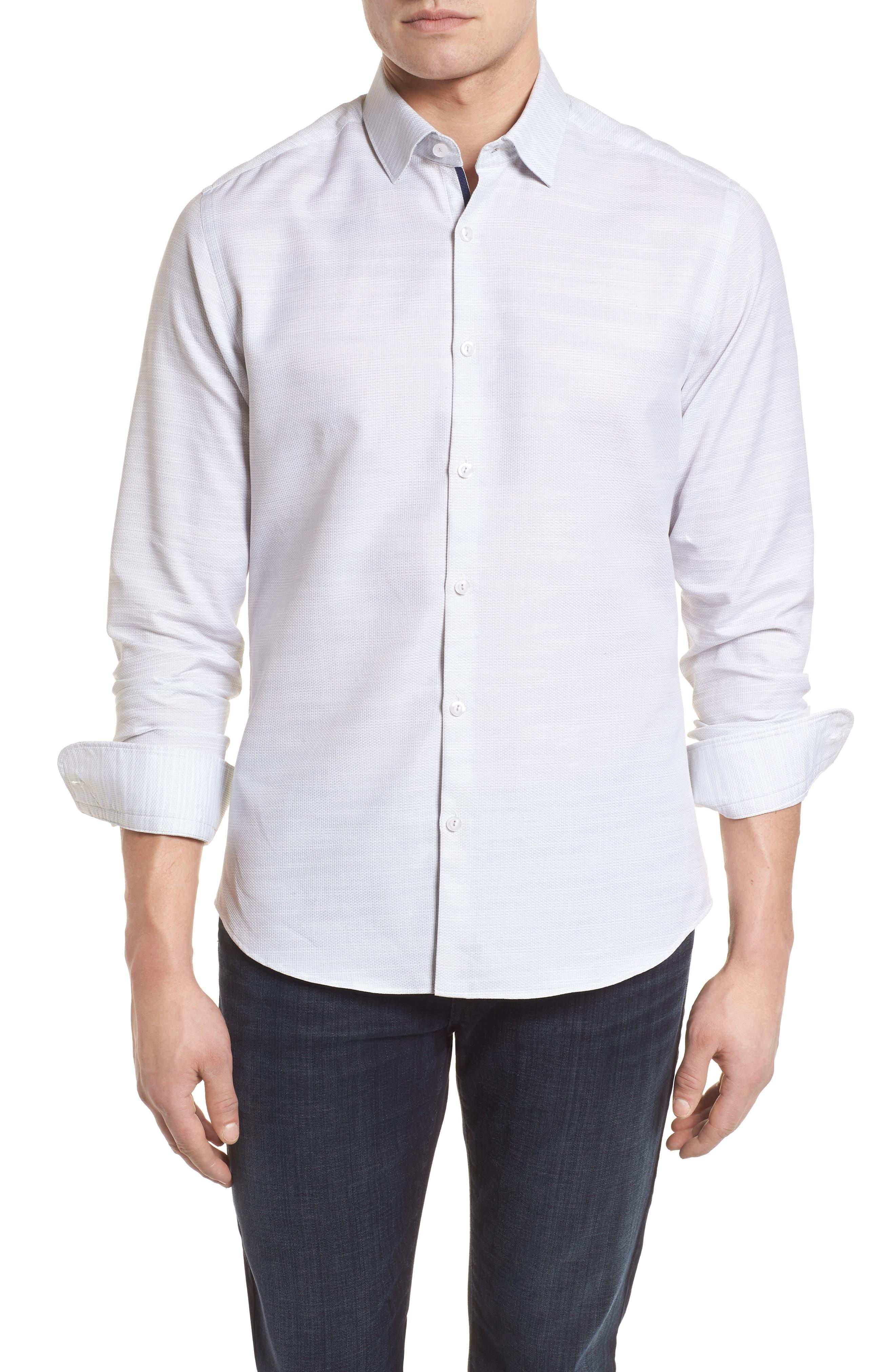 Contemporary Fit Mélange Texture Sport Shirt,                             Main thumbnail 1, color,                             Sand