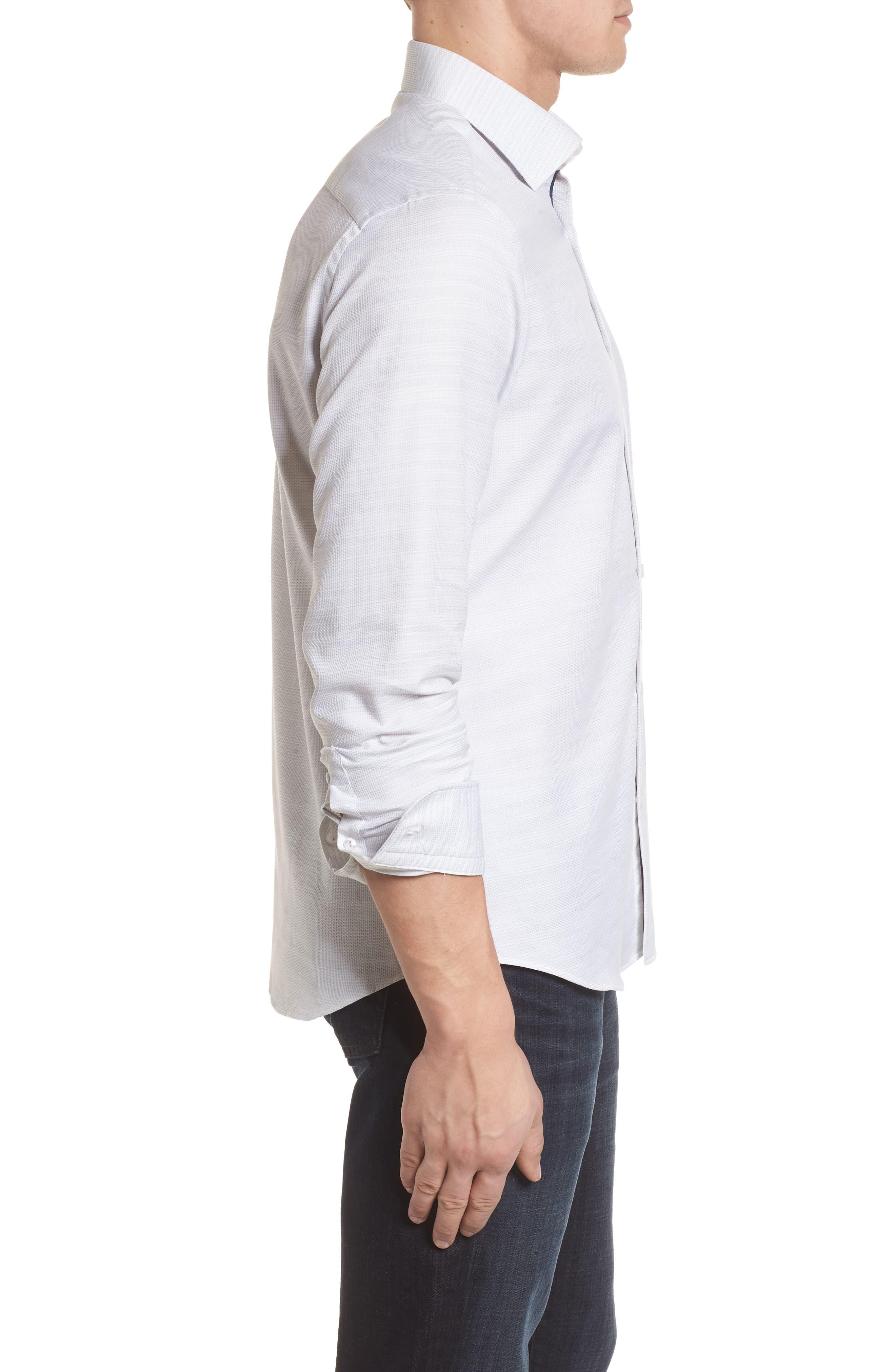 Contemporary Fit Mélange Texture Sport Shirt,                             Alternate thumbnail 3, color,                             Sand