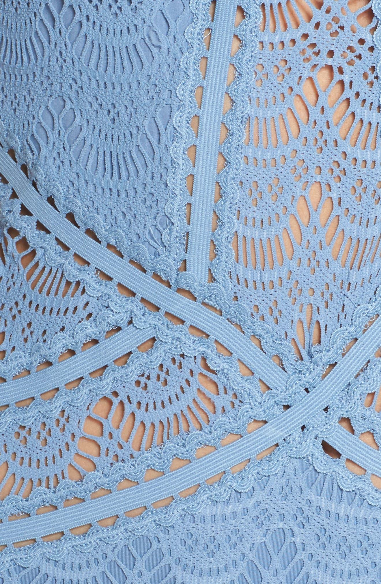 Crochet One-Piece Swimsuit,                             Alternate thumbnail 5, color,                             Steel