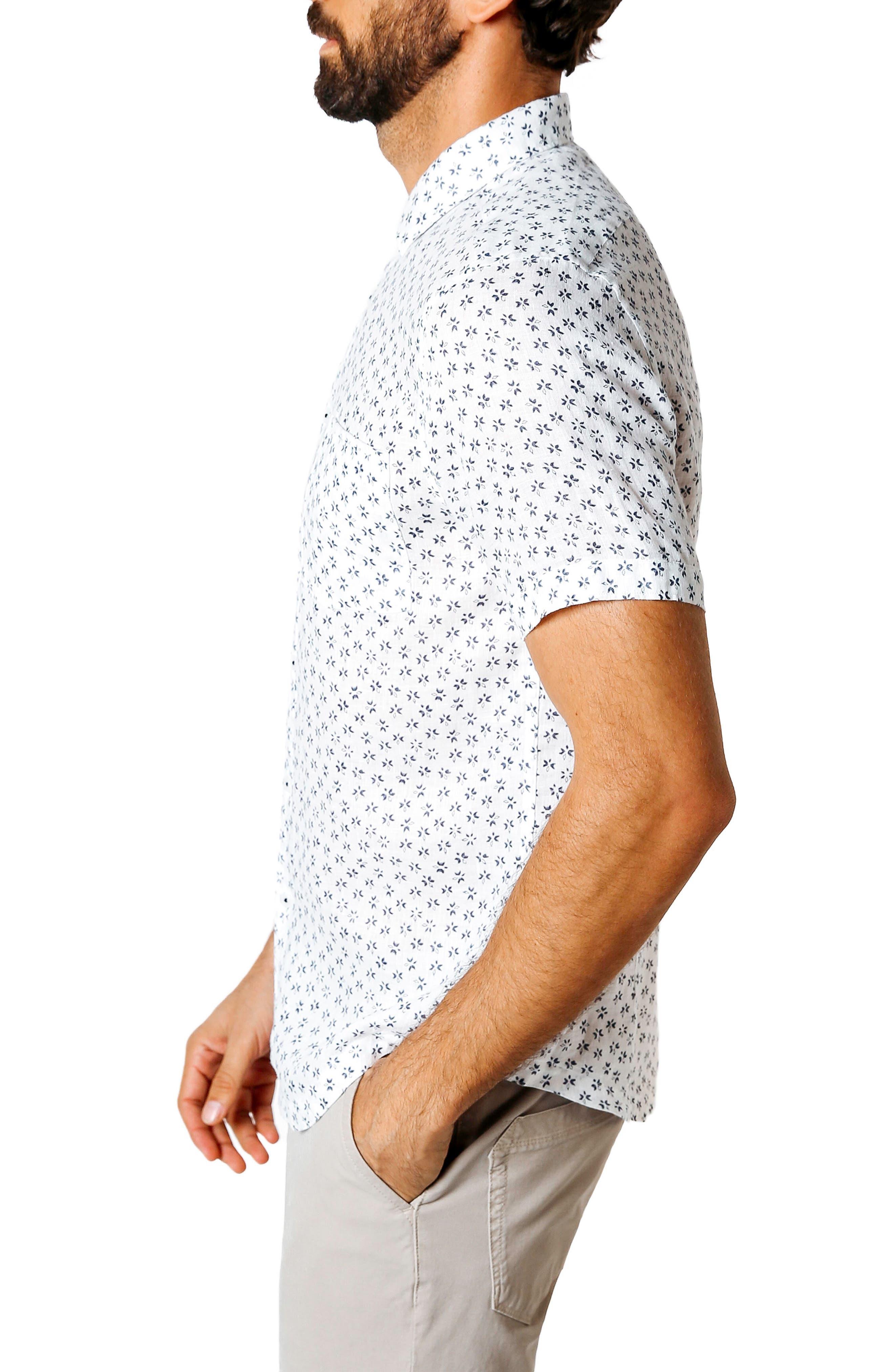 Trim Fit Print Sport Shirt,                             Alternate thumbnail 3, color,                             White