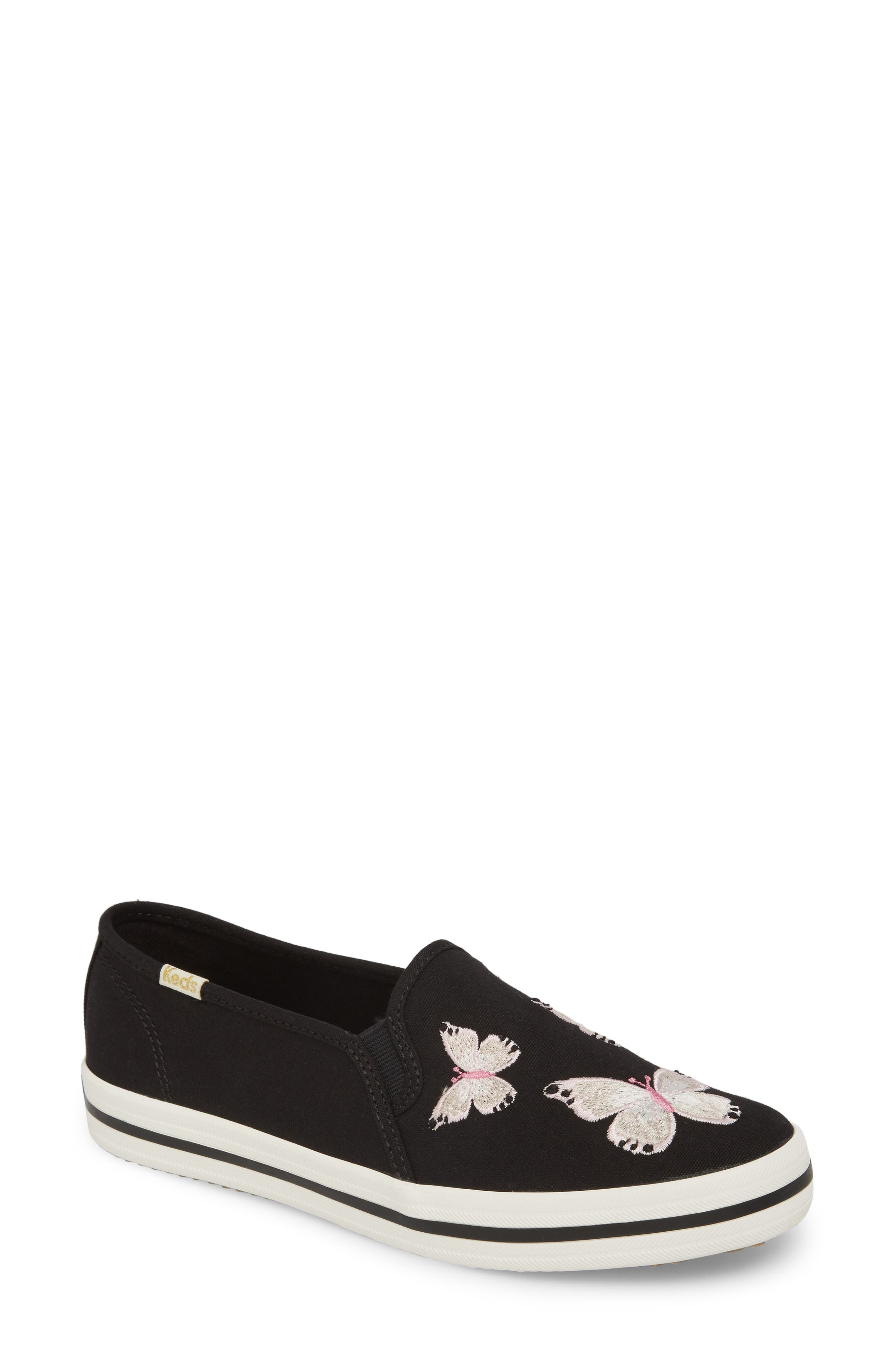 butterfly double decker slip-on sneaker,                         Main,                         color, Black