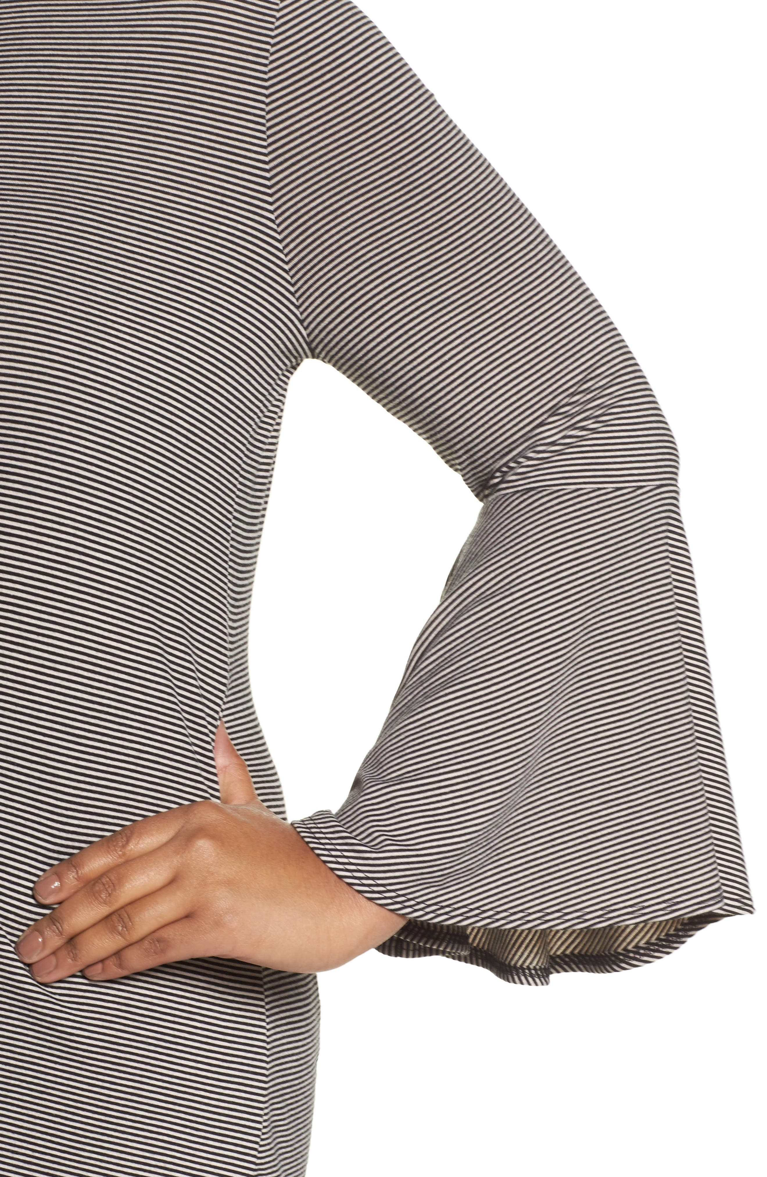 Bell Sleeve Top,                             Alternate thumbnail 5, color,                             Charcoal Heather- Black Stripe