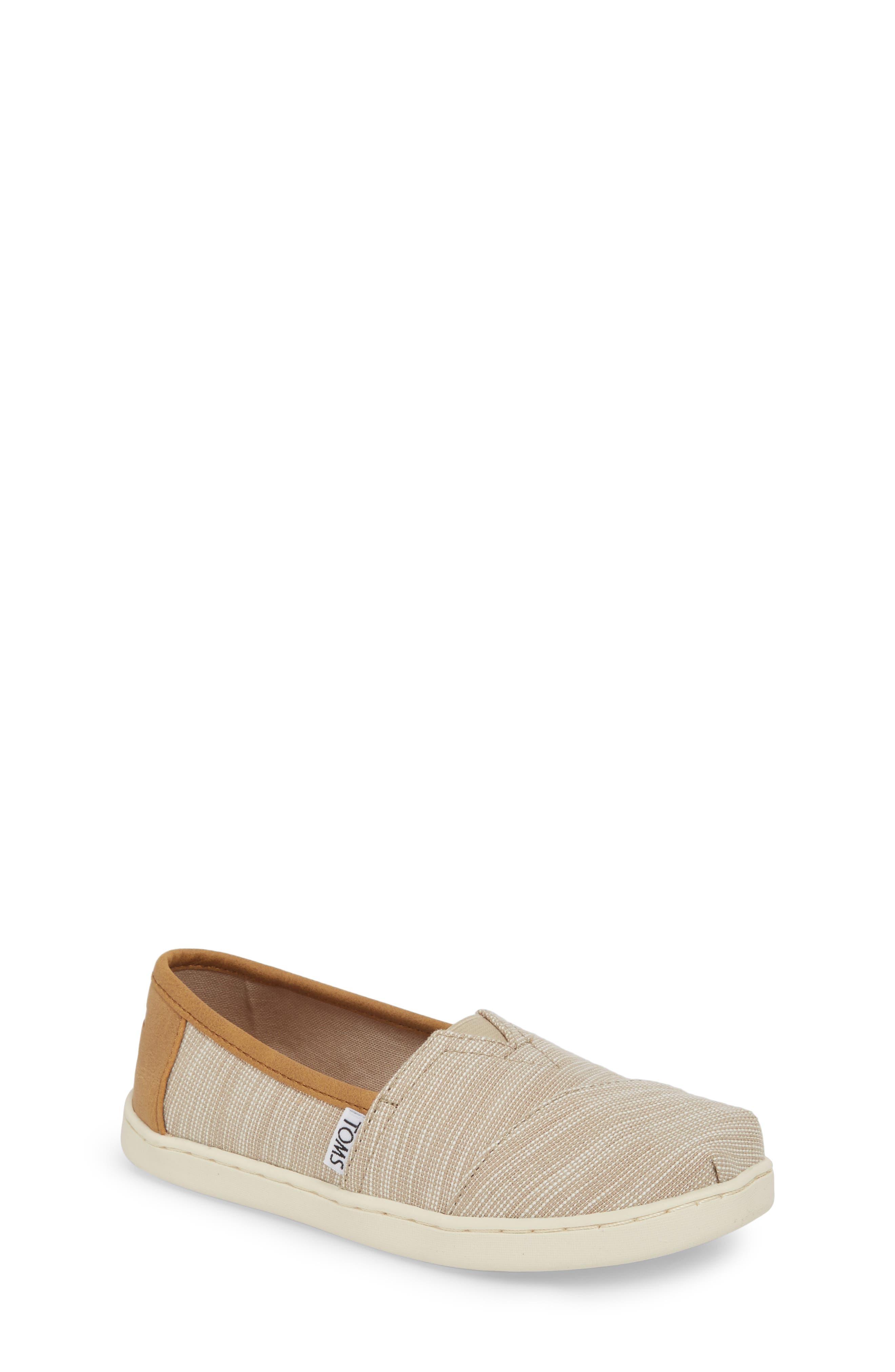 Classic Alpargata Slip-On,                         Main,                         color, Oxford Tan Stripe Chambray