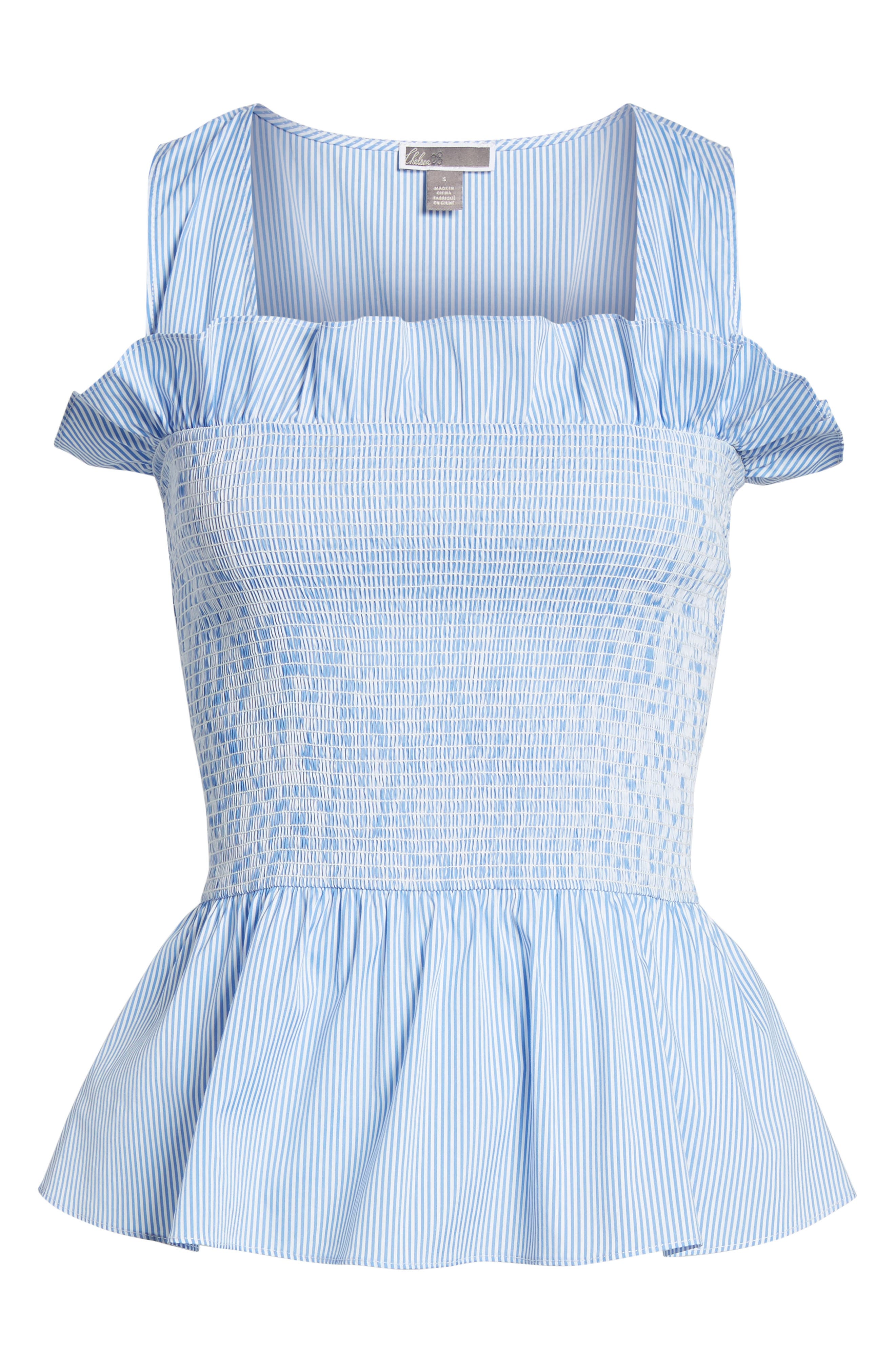Smocked Bustier Top,                             Alternate thumbnail 6, color,                             Blue Stream Stripe