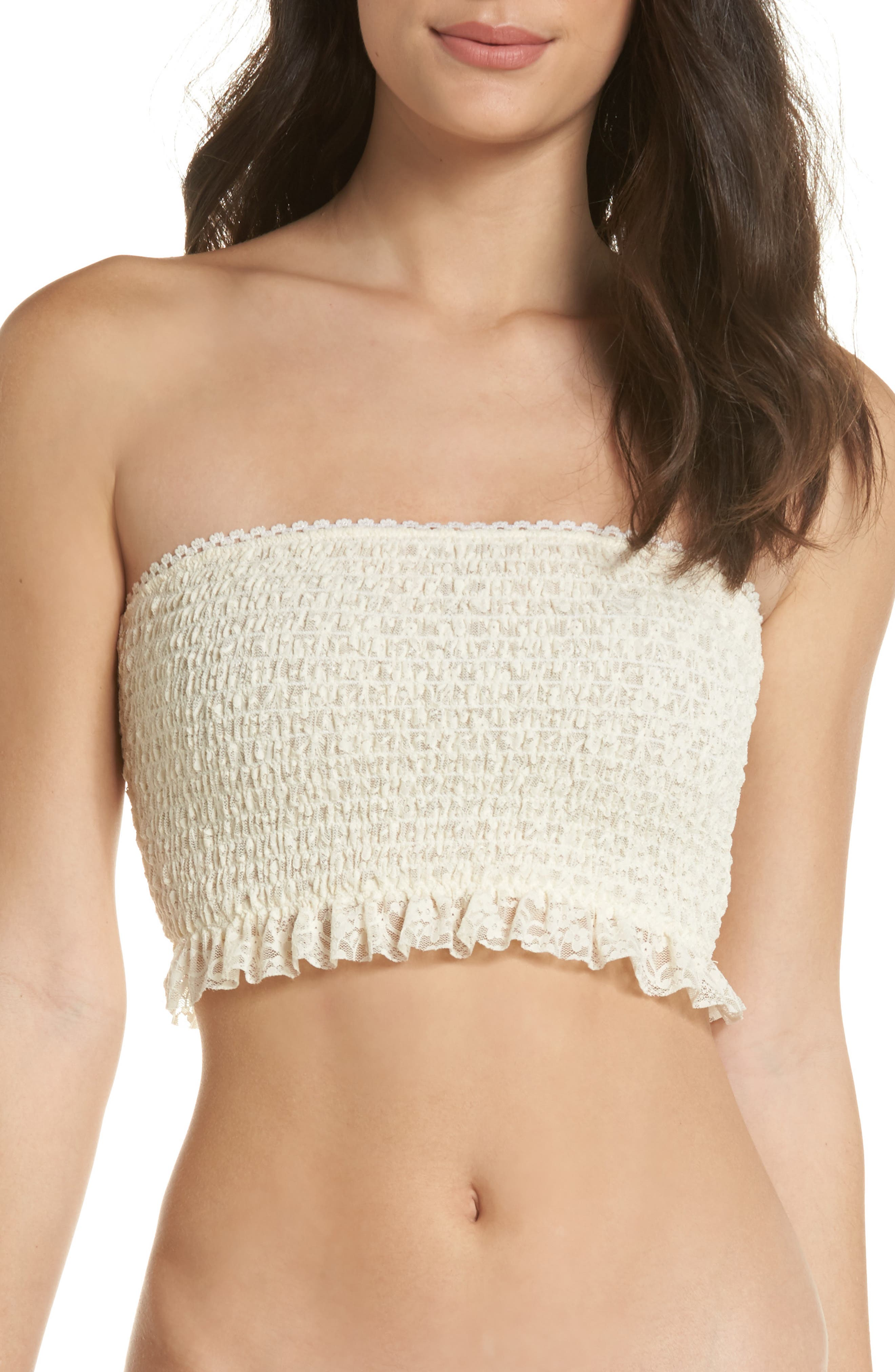 Callie Smocked Bandeau Top,                         Main,                         color, Ivory